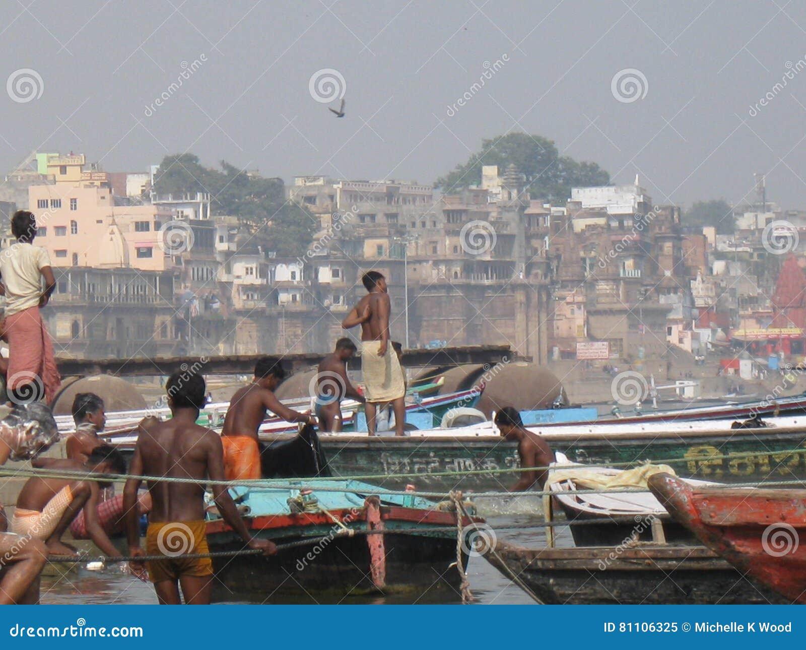 Boatmen Assi Ghat Varanasi India
