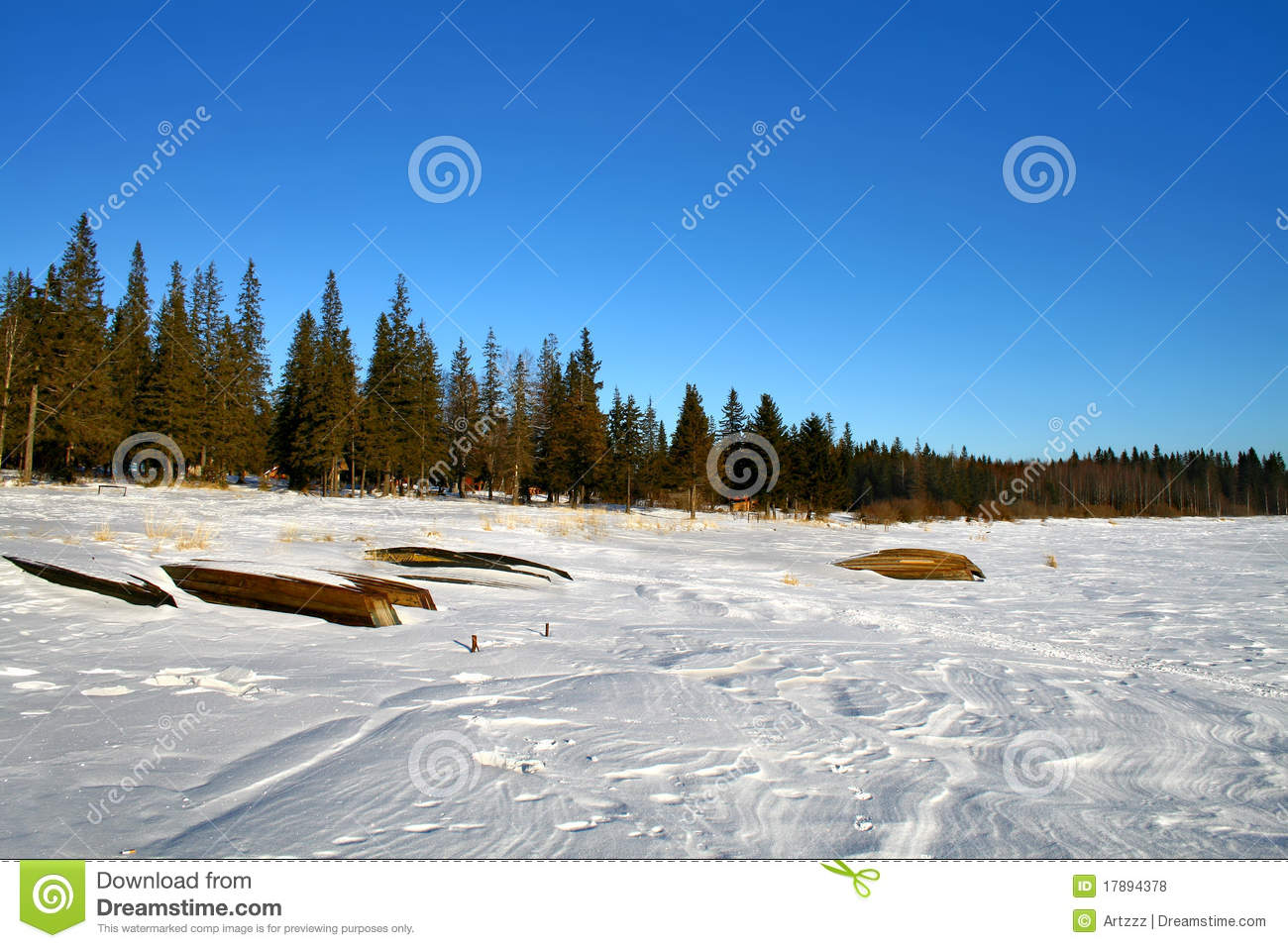 Dock On Frozen Pond Royalty-Free Stock Photography ...