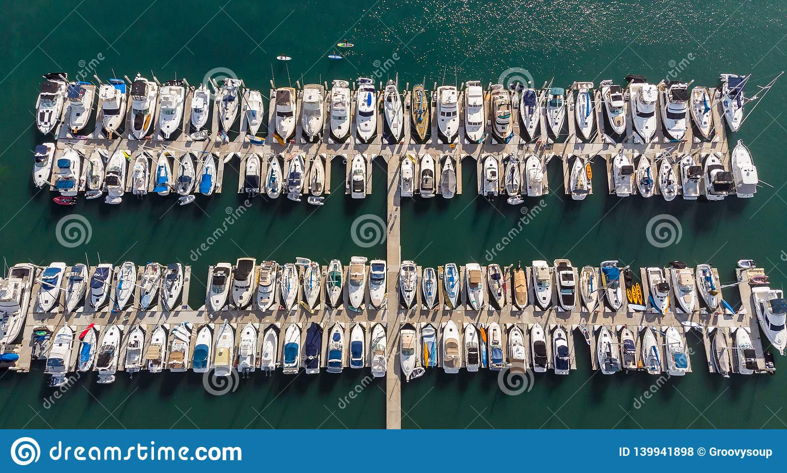 Boats from above in Dana Point, California