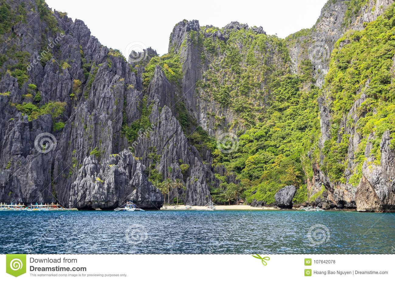 Boats On The Beach Of El Nido Philippines Stock Photo