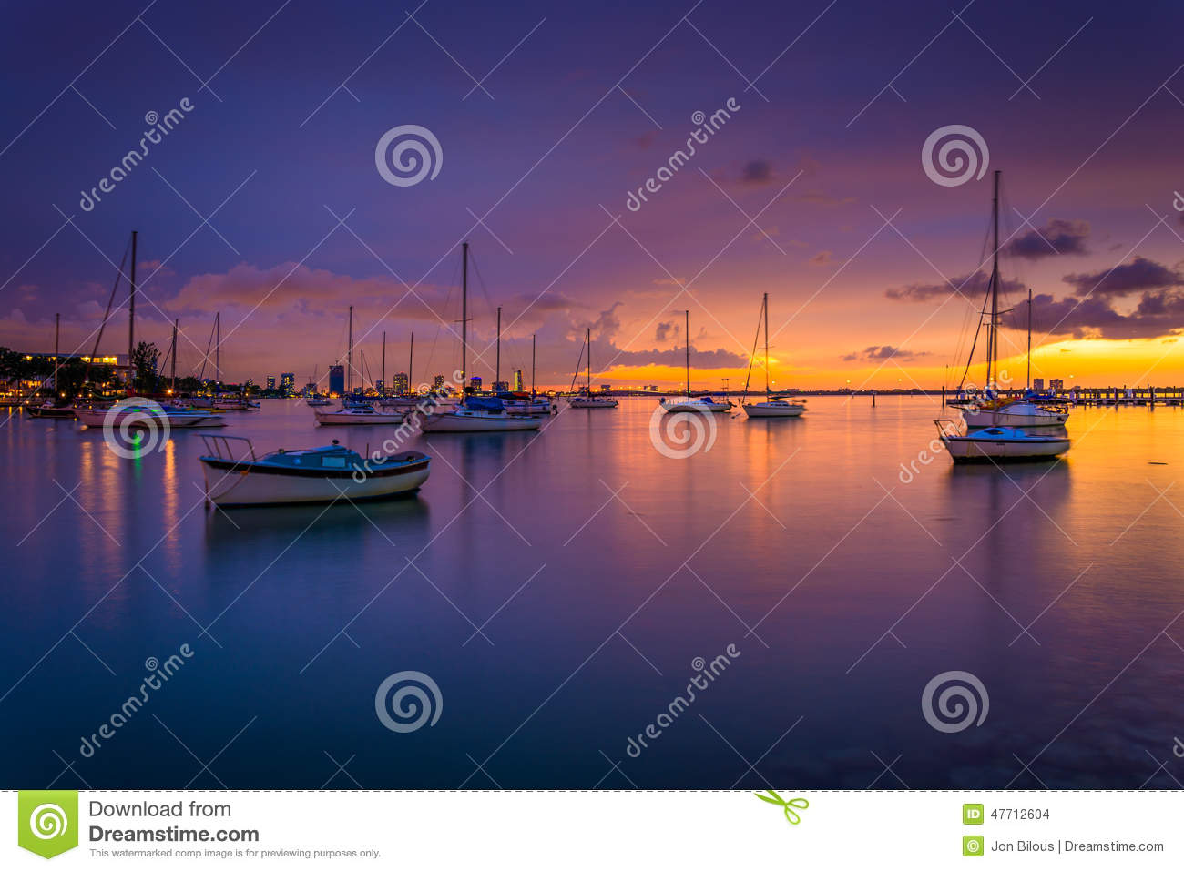 Boats in Biscayne Bay at sunset, seen from Miami Beach, Florida.