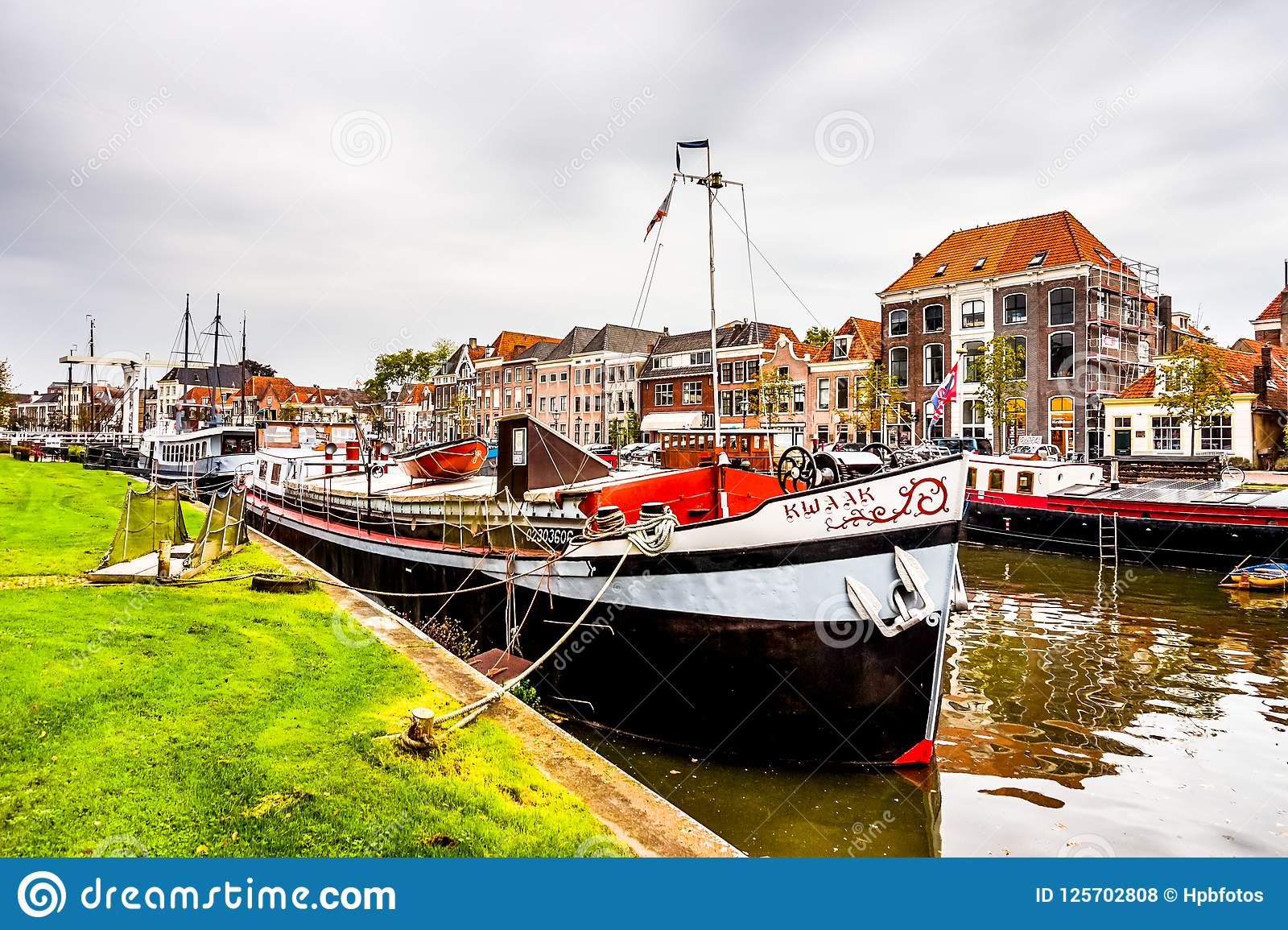 Boats in the Canal that surrounds the city center of Zwolle in Overijssel, the Netherlands