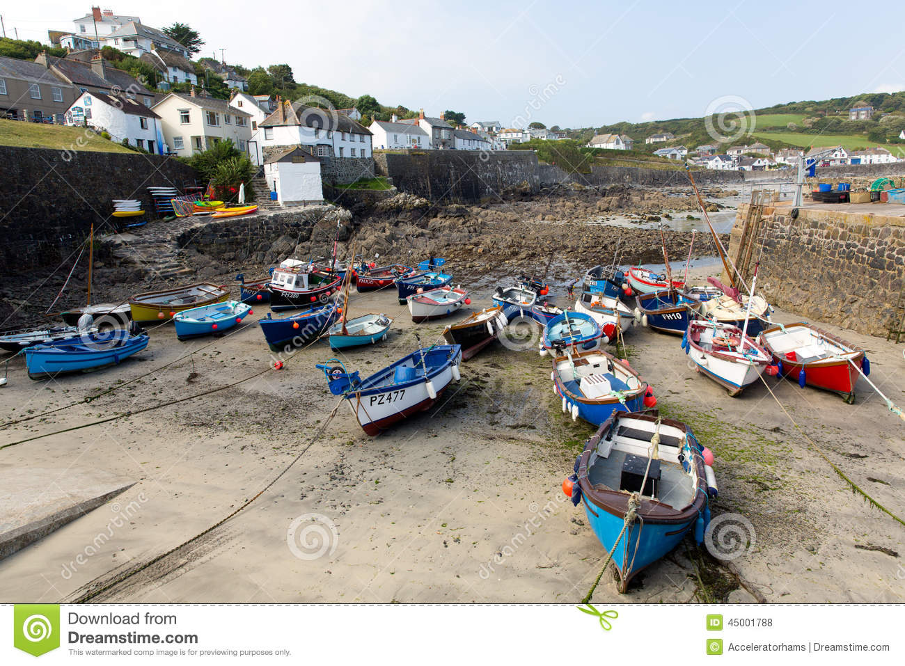 Boats in Coverack harbour Cornwall England UK coastal fishing village ...
