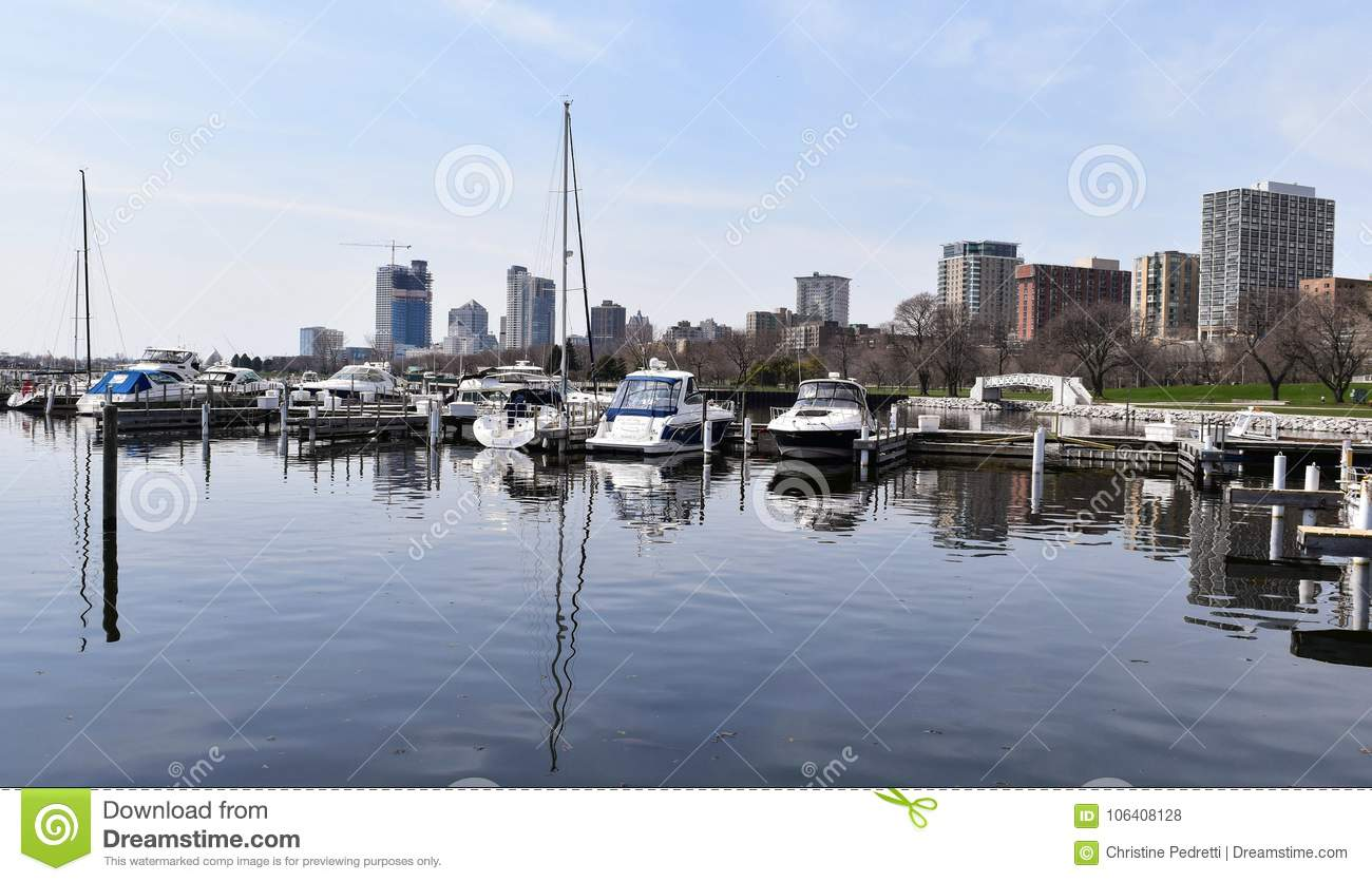 Boats in a harbor, Milwaukee WI,USA