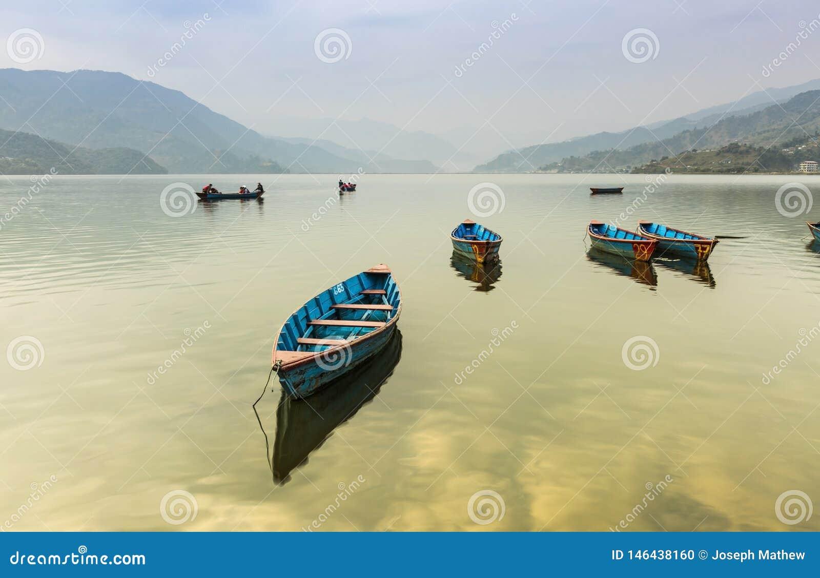 BOATS IN FEVA LAKE POKHARA NEPAL