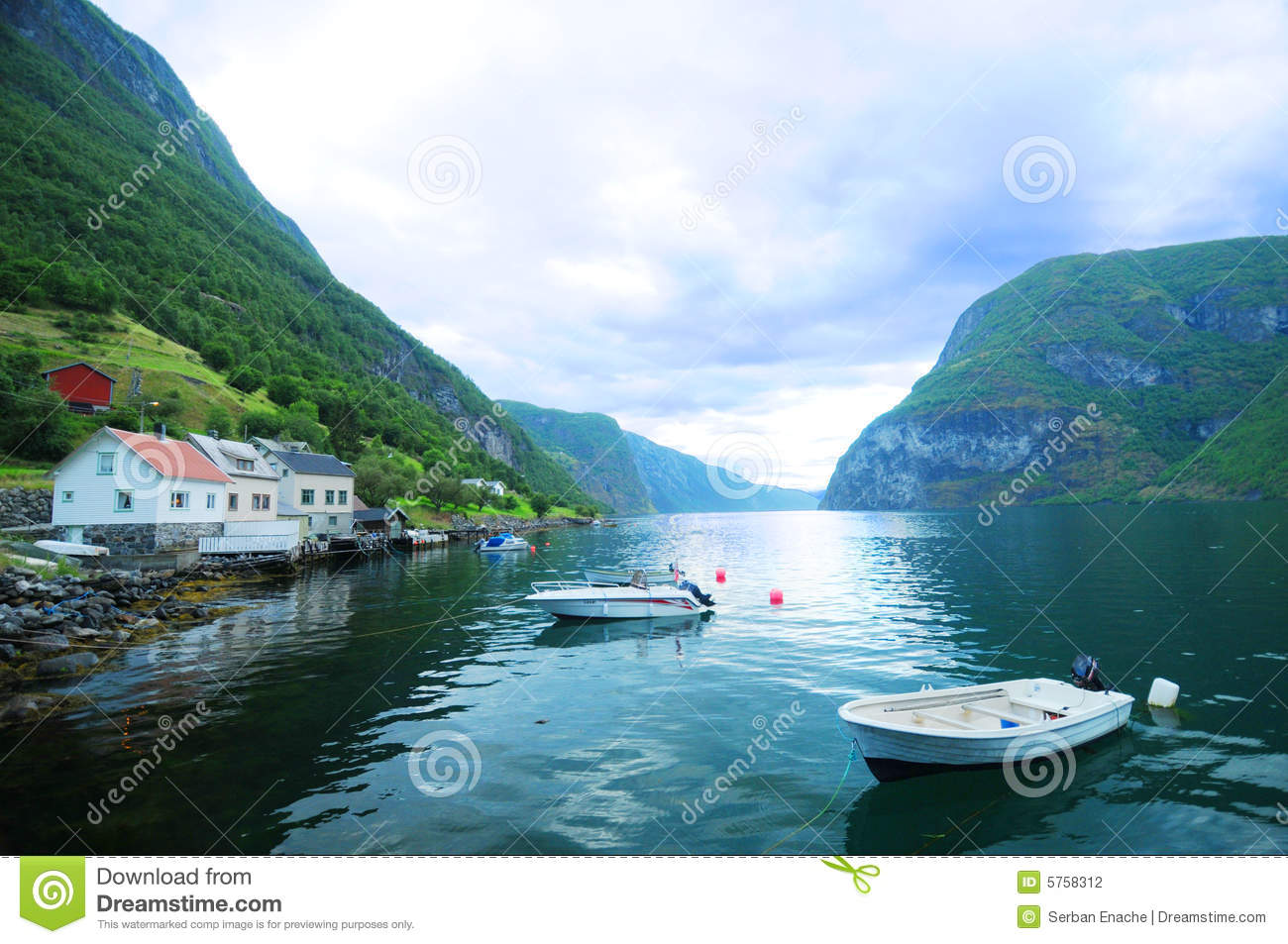 Boats in fjord