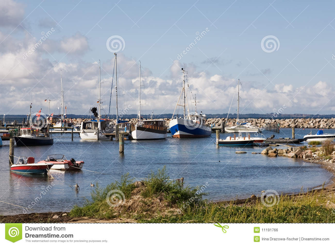 Boats in Glowe harbor