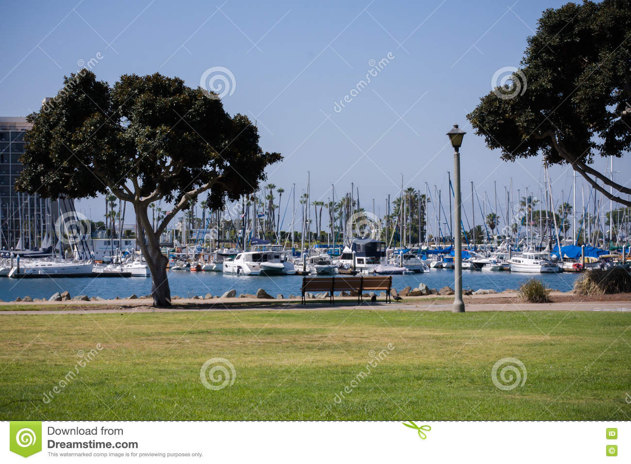 Boats And Harbor In San Diego, California Stock Photo