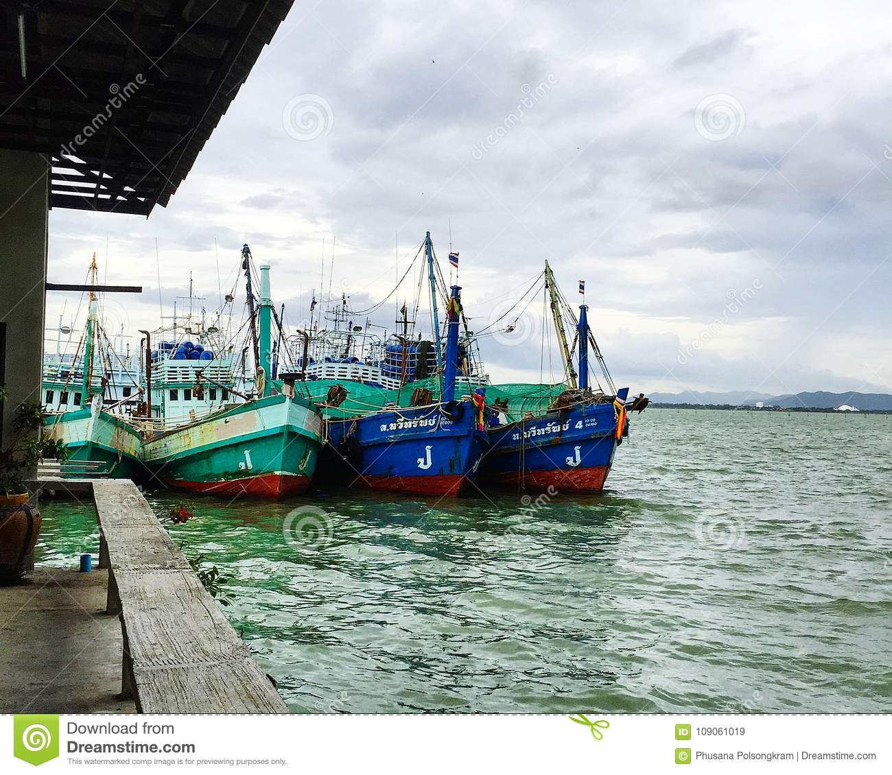 Boats At Harbor In Thailand Editorial Stock Image - Image of