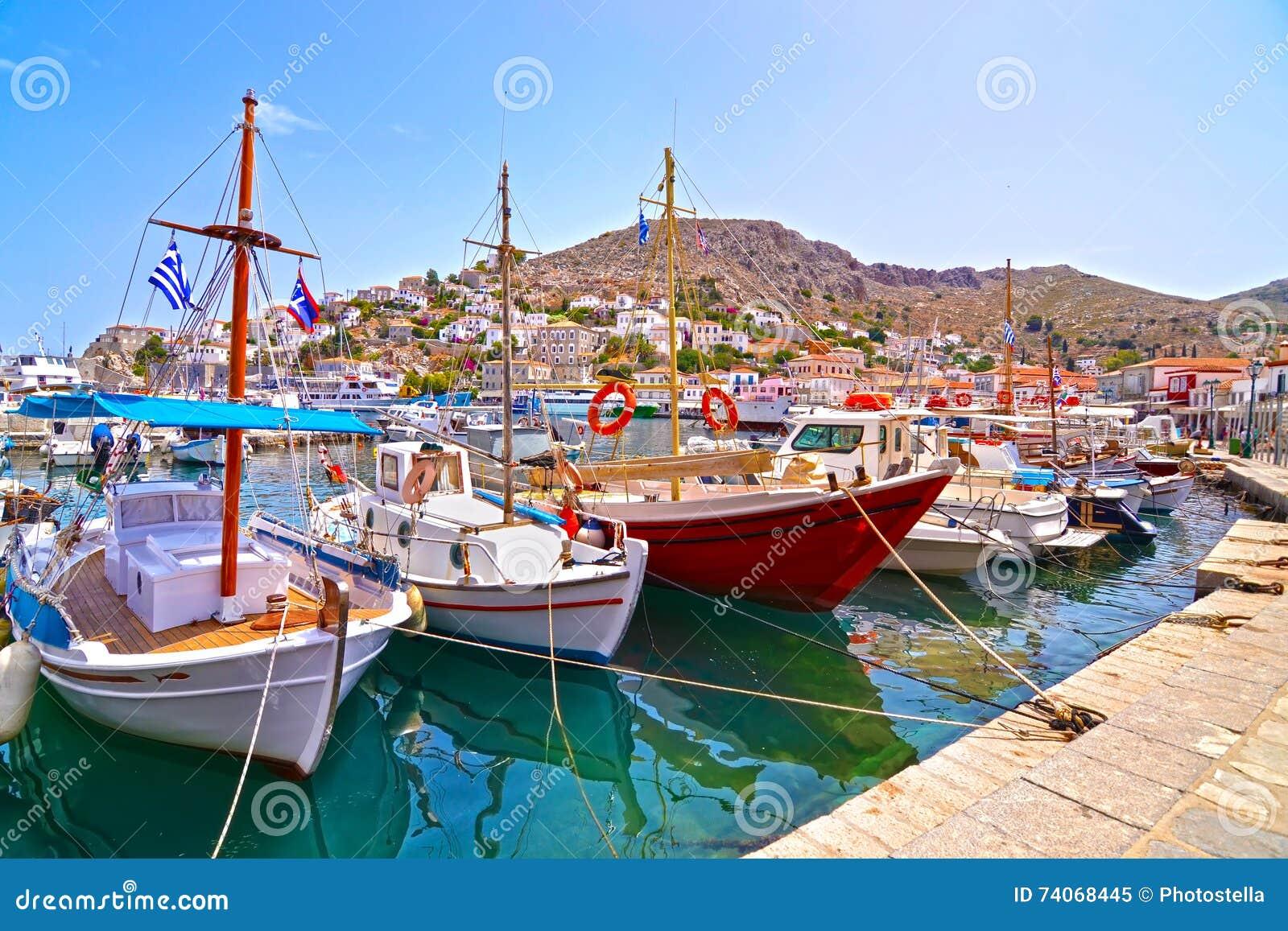 Boats at Hydra island Greece