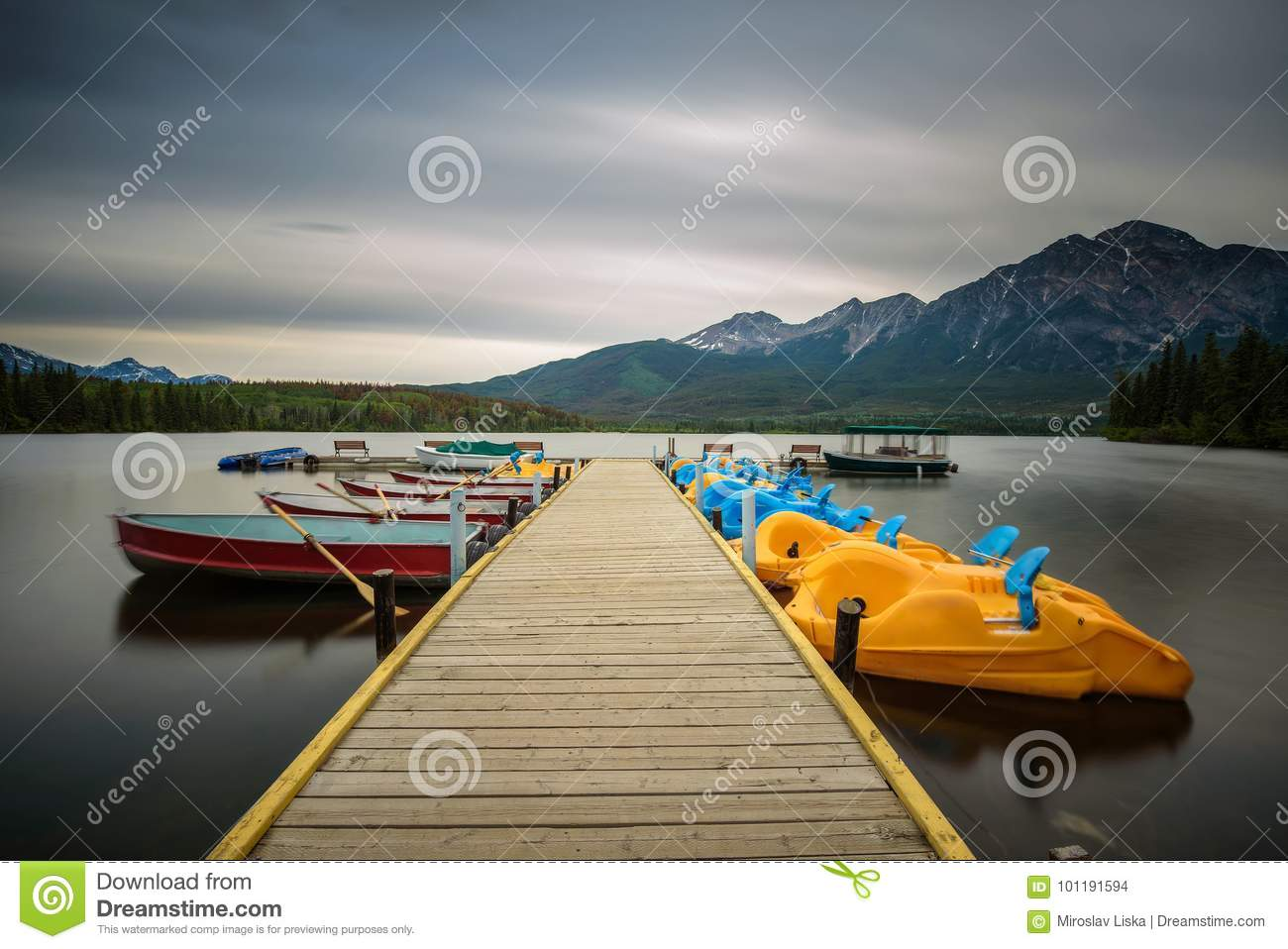 Boats On A Jetty On The Pyramid Lake In Jasper National Park