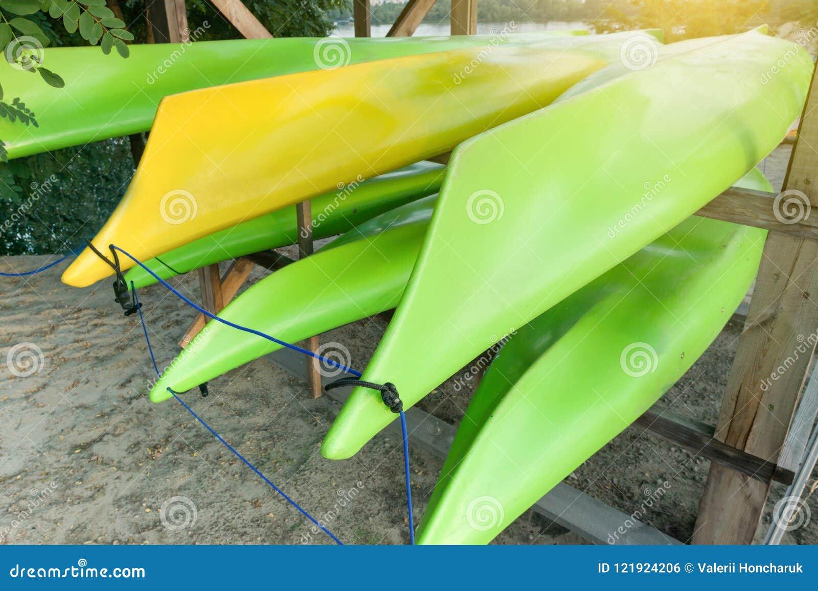Boats Kayak, Canoe, Kayaks  On The River Bank, Storage