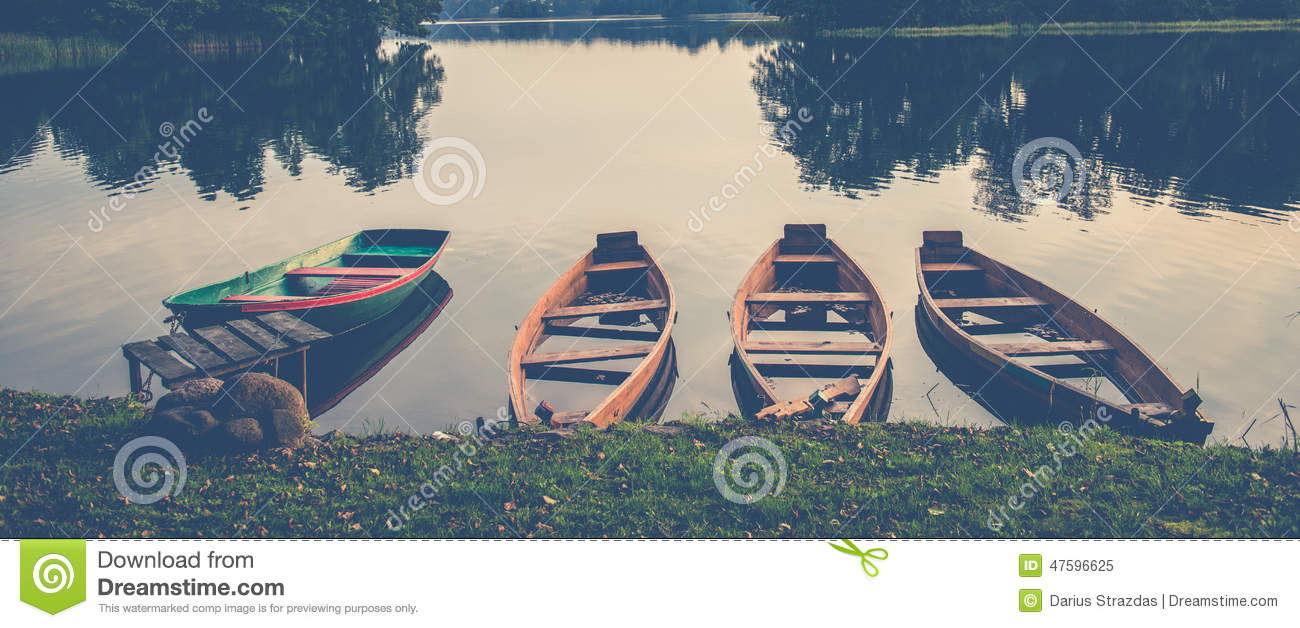 Download Boats in a lake stock image. Image of panorama, calm - 47596625