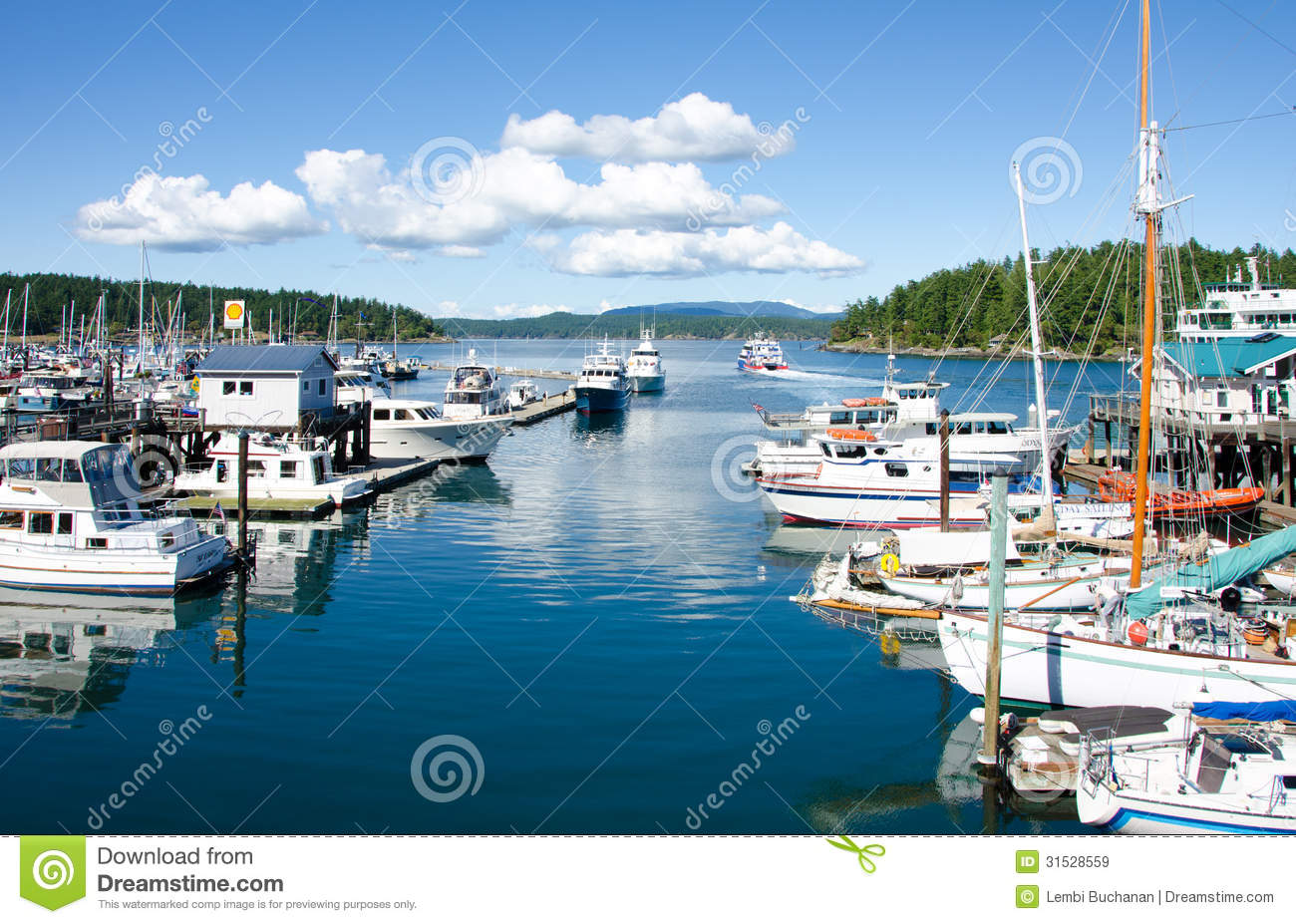 Boats moored at marina in friday harbor editorial stock for Fishing san juan islands