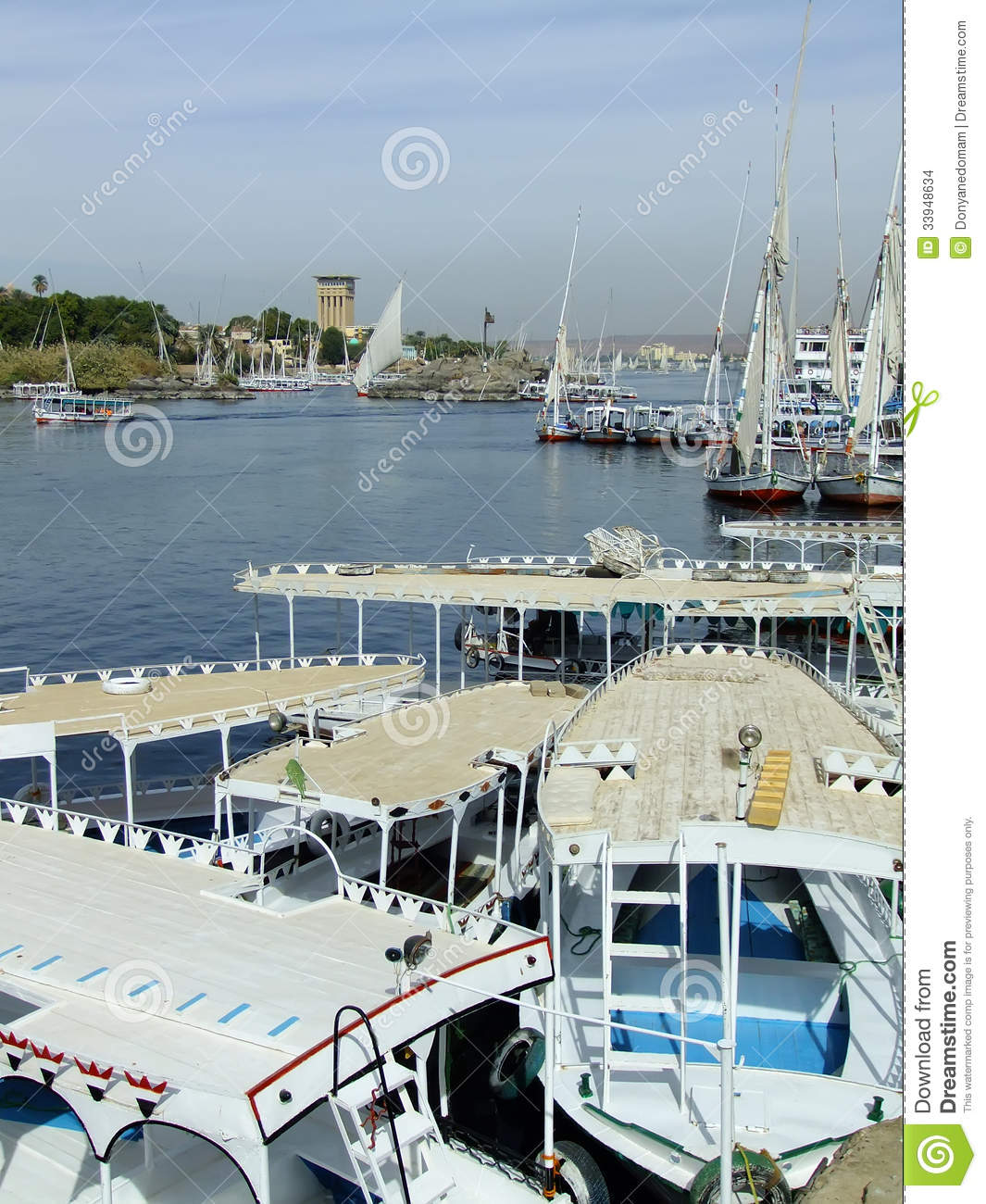 Boats On The Nile River, Aswan Stock Photo