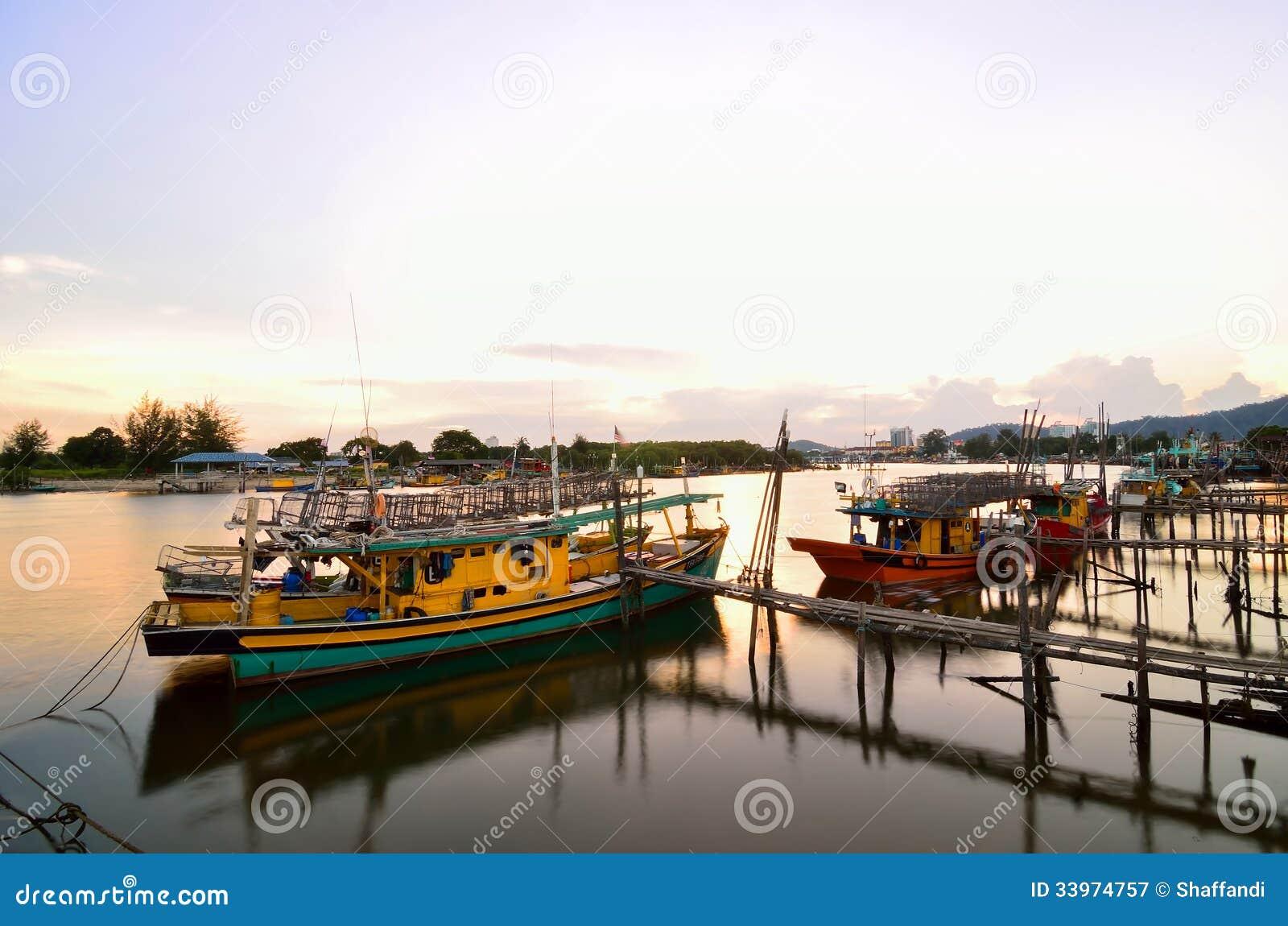 Boats park at Esplanade Tanjung Api, Kuantan, Pahang, Malaysia
