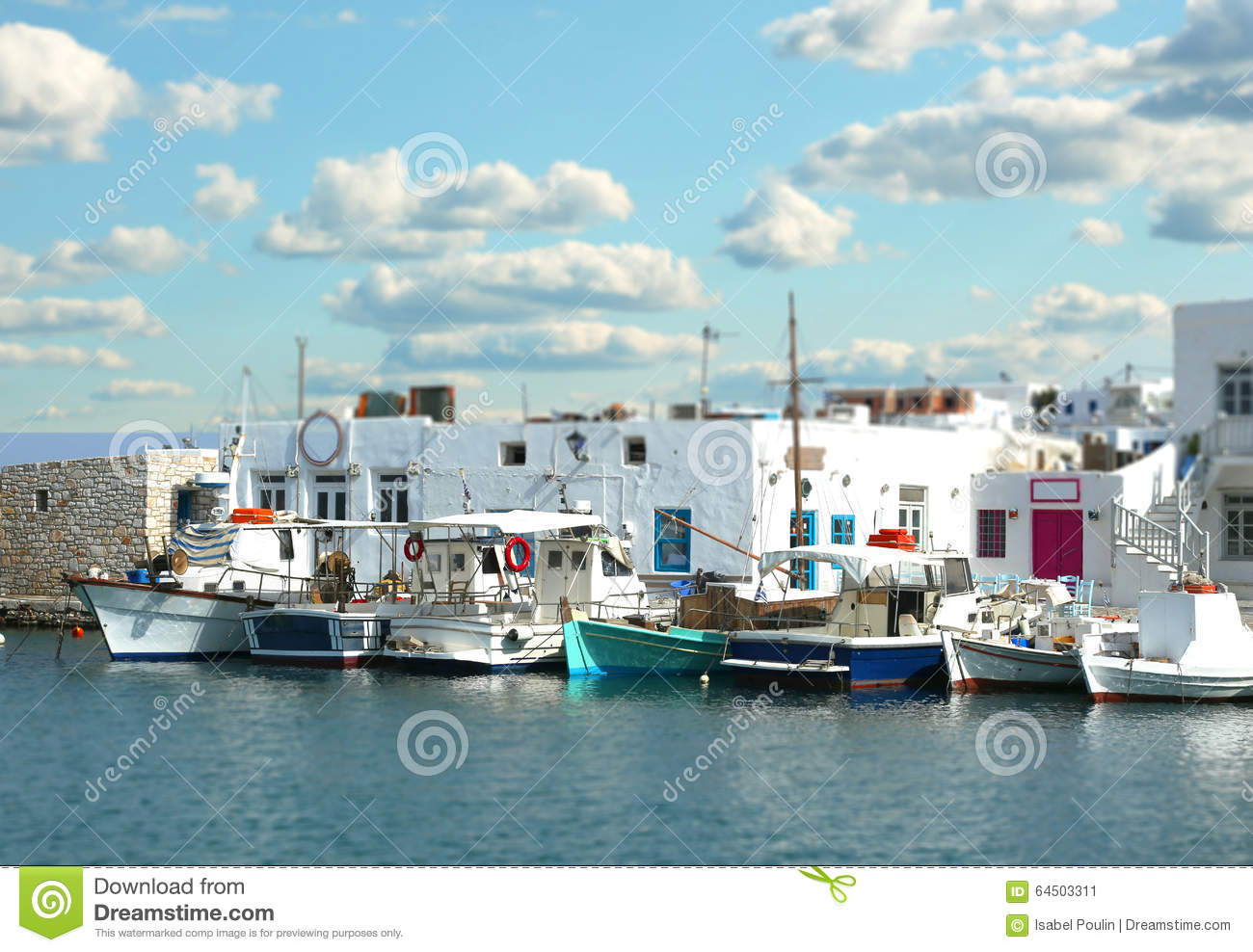 Boats at the pier with tilt effect in Paros, Greece