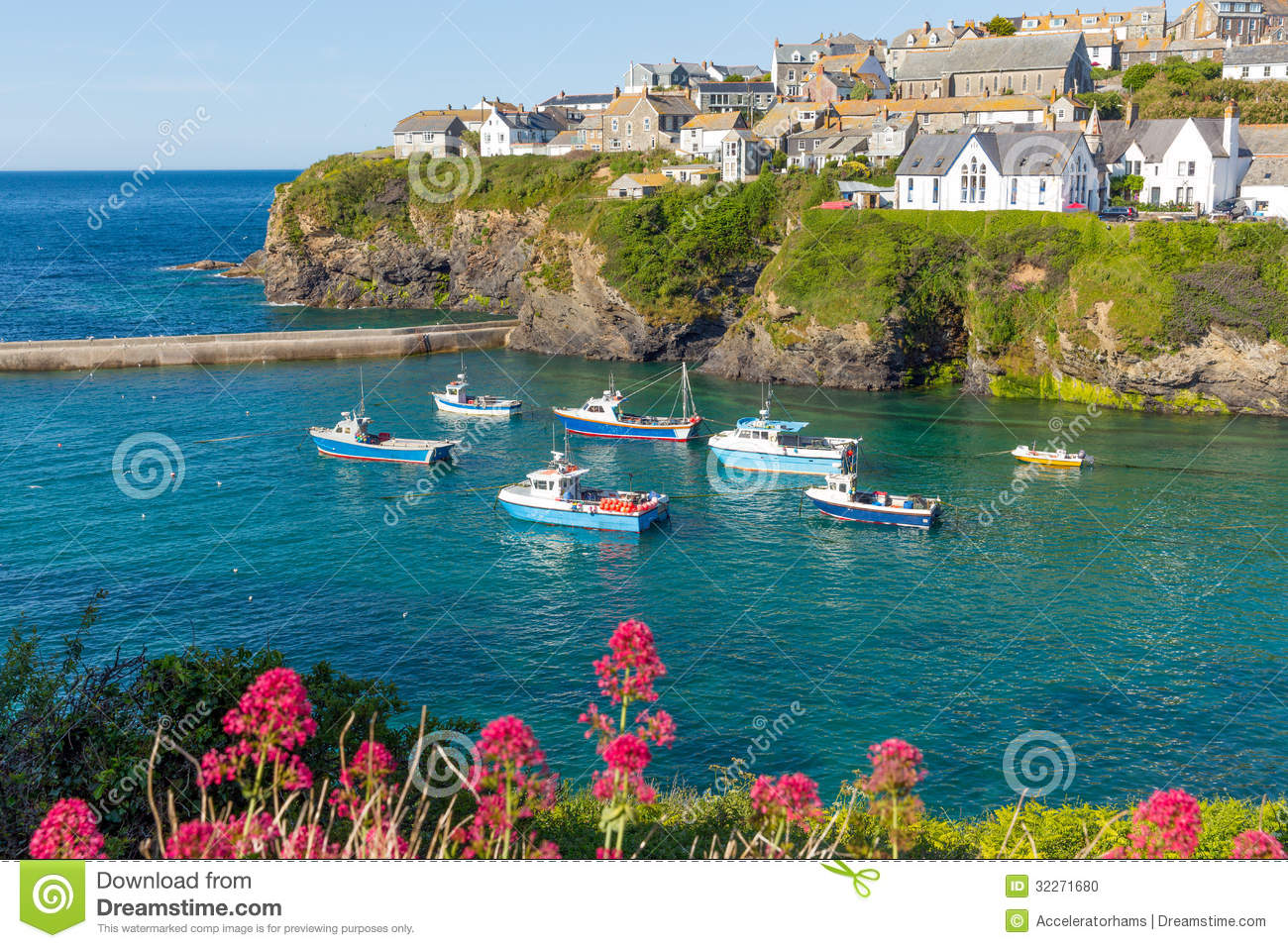 Stock Photo Boats Port Isaac Harbour Cornwall England Uk North Coast Beautiful Sunny Day Image32271680 on vacation house plans