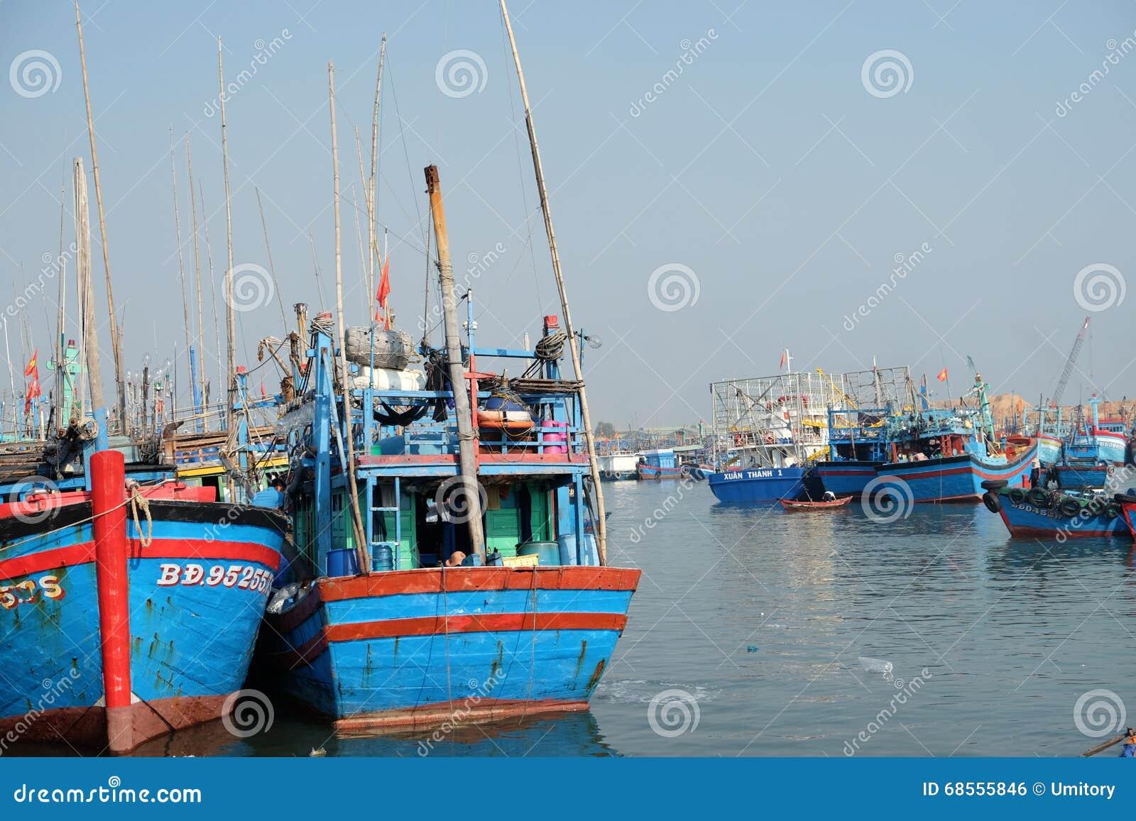 Boats At Qui Nhon Fish Port Vietnam In The Morning Editorial Photo Image 68555846