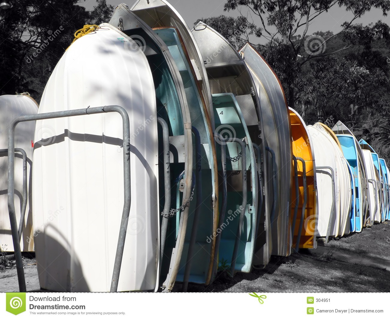 Boats in racks isolated with colour