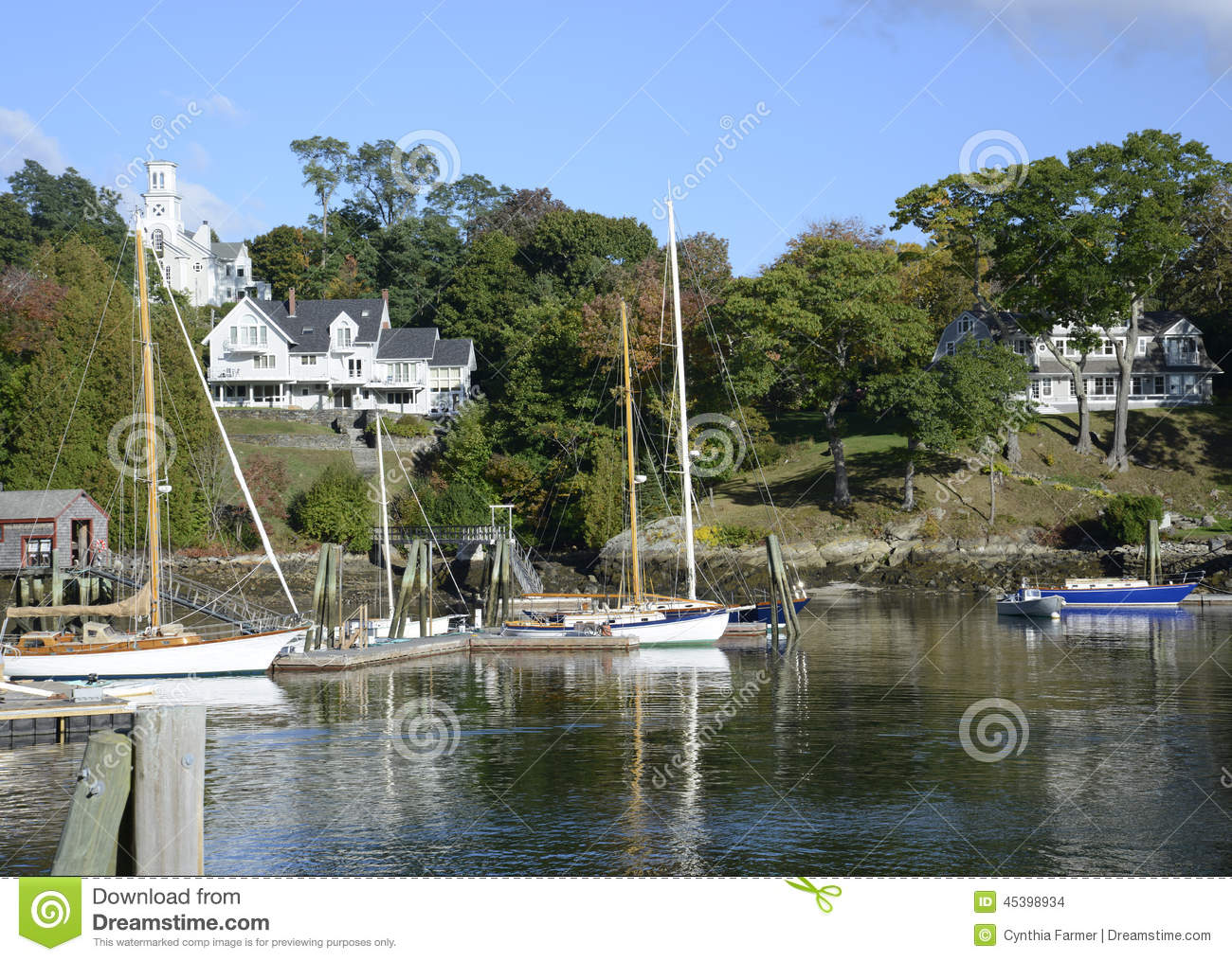 Boats In The Rockport Marine Harbor In Maine Stock Photo
