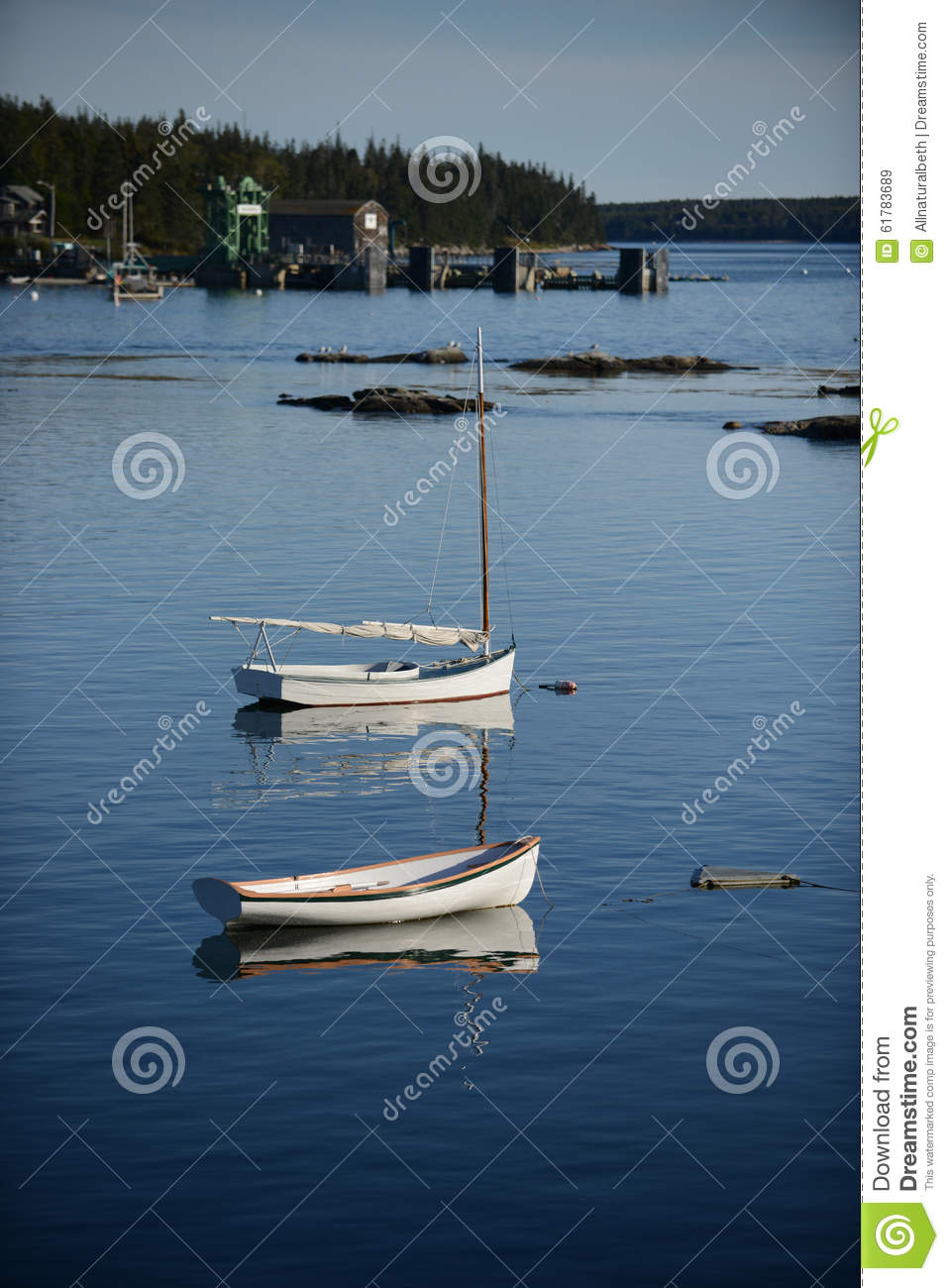 Scenic maine fishing village royalty free stock for Fishing boat dealers near me