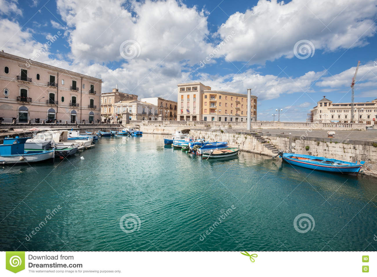 Boats in the small port of Syracuse, Sicily (Italy)