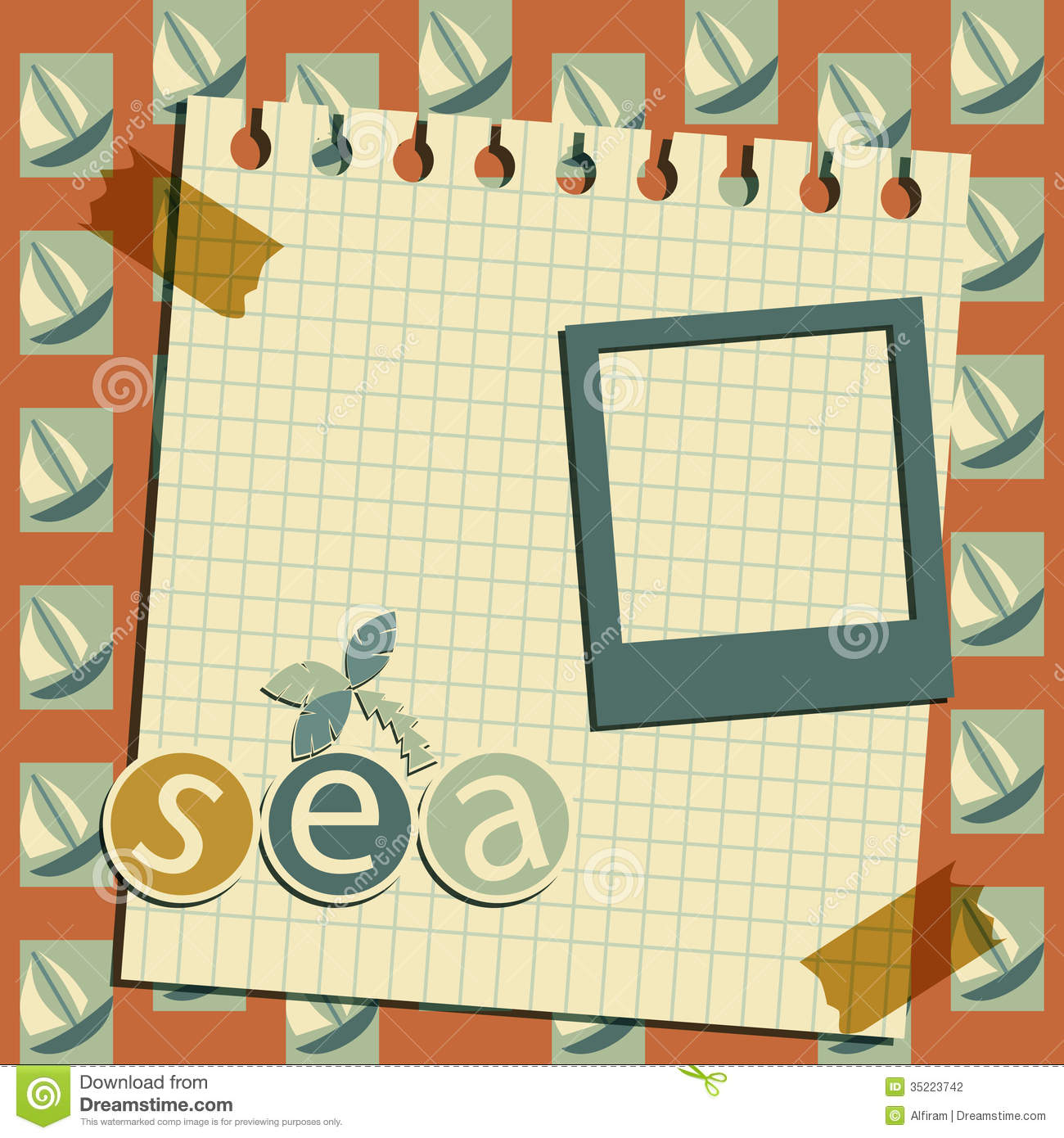 Photo Page: Boats Vintage Template Stock Vector. Image Of Scrapbooking
