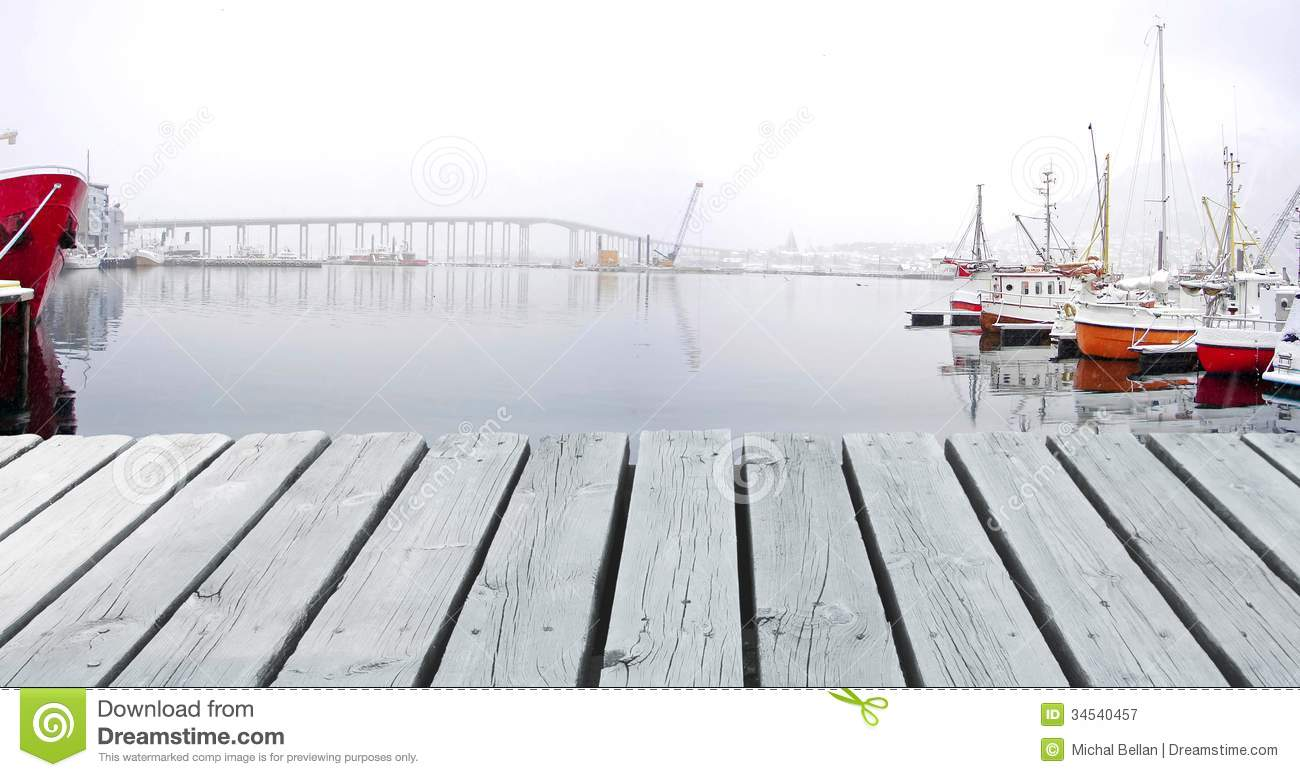 Boats In A Winter Harbour And Bridge Royalty Free Stock ...