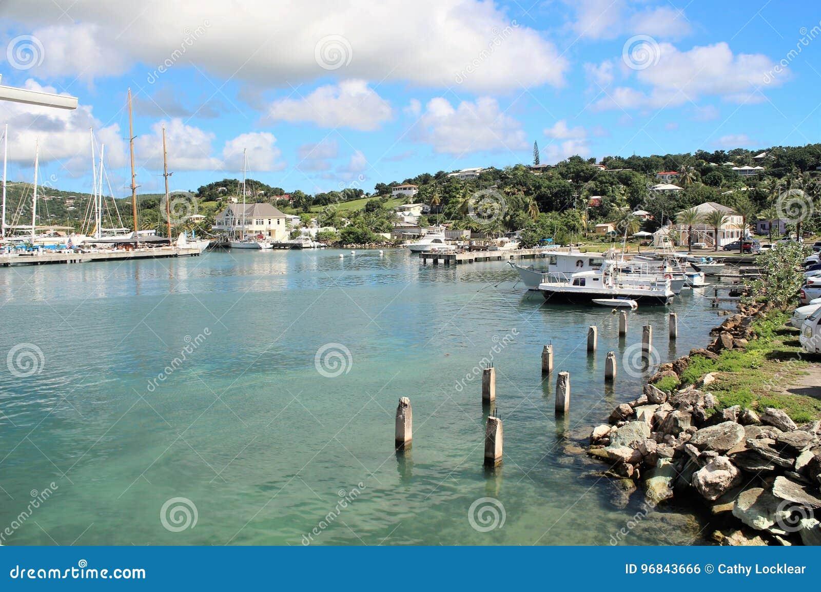 Boats and yahts docked - December 4, 2016 - boast and yachts docked at a Marina on the island of Antigua