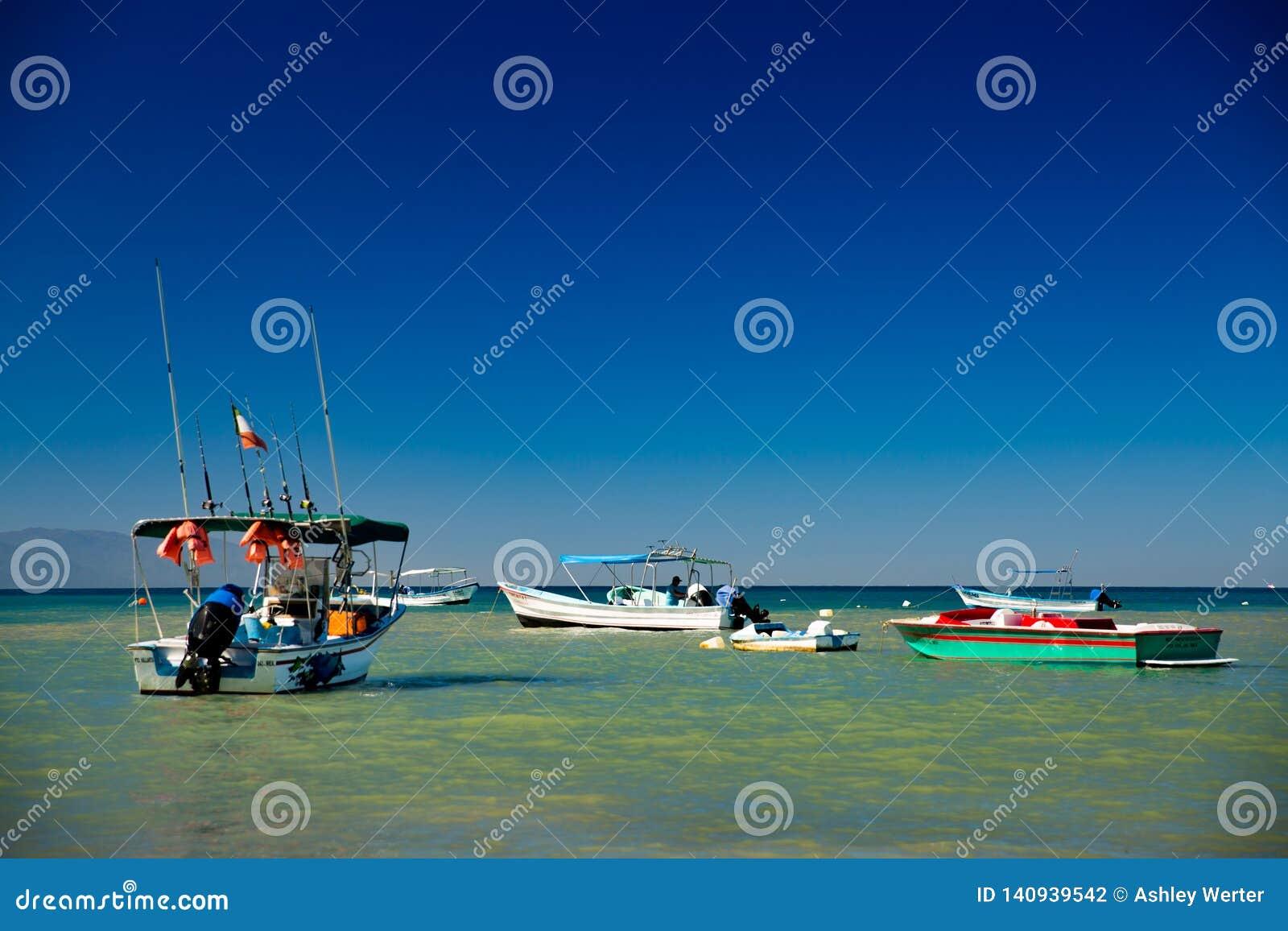 Boats in Yelapa, Jalisco, Mexico