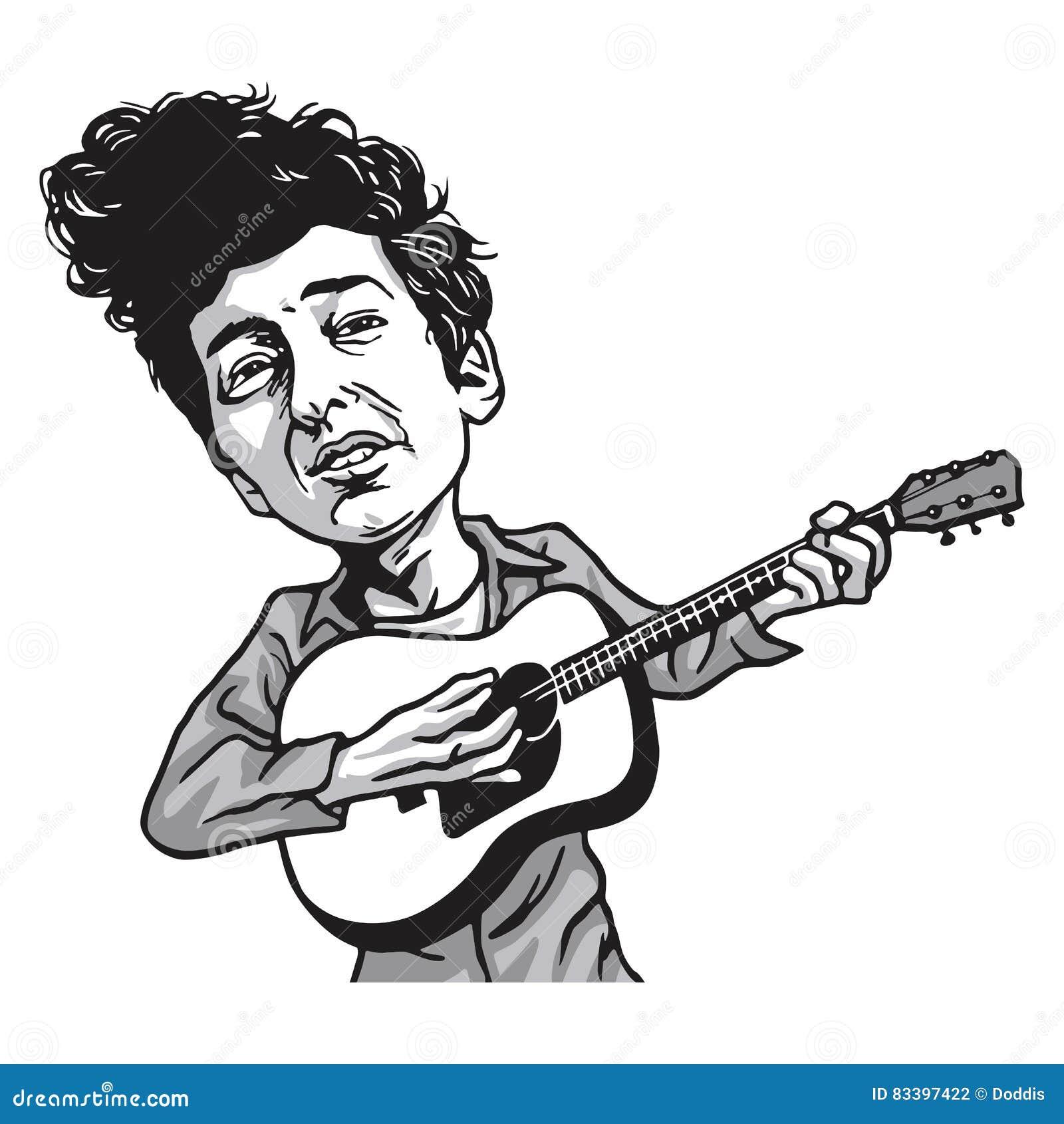 Bob Dylan Cartoon Playing Guitar