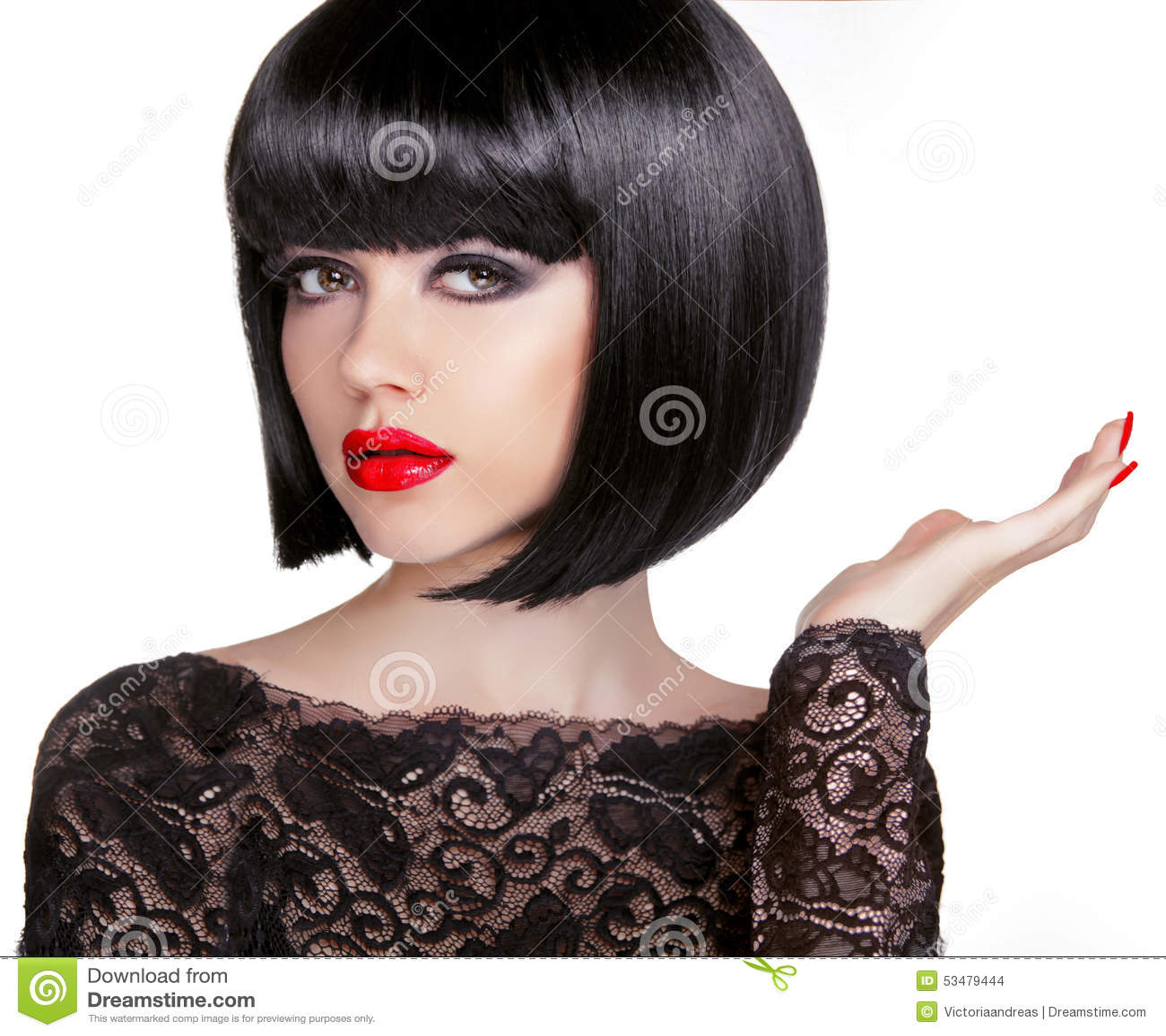 Bob Frisur Brunettemode Modell Mit Dem Schwarzen Kurzen Haar Und