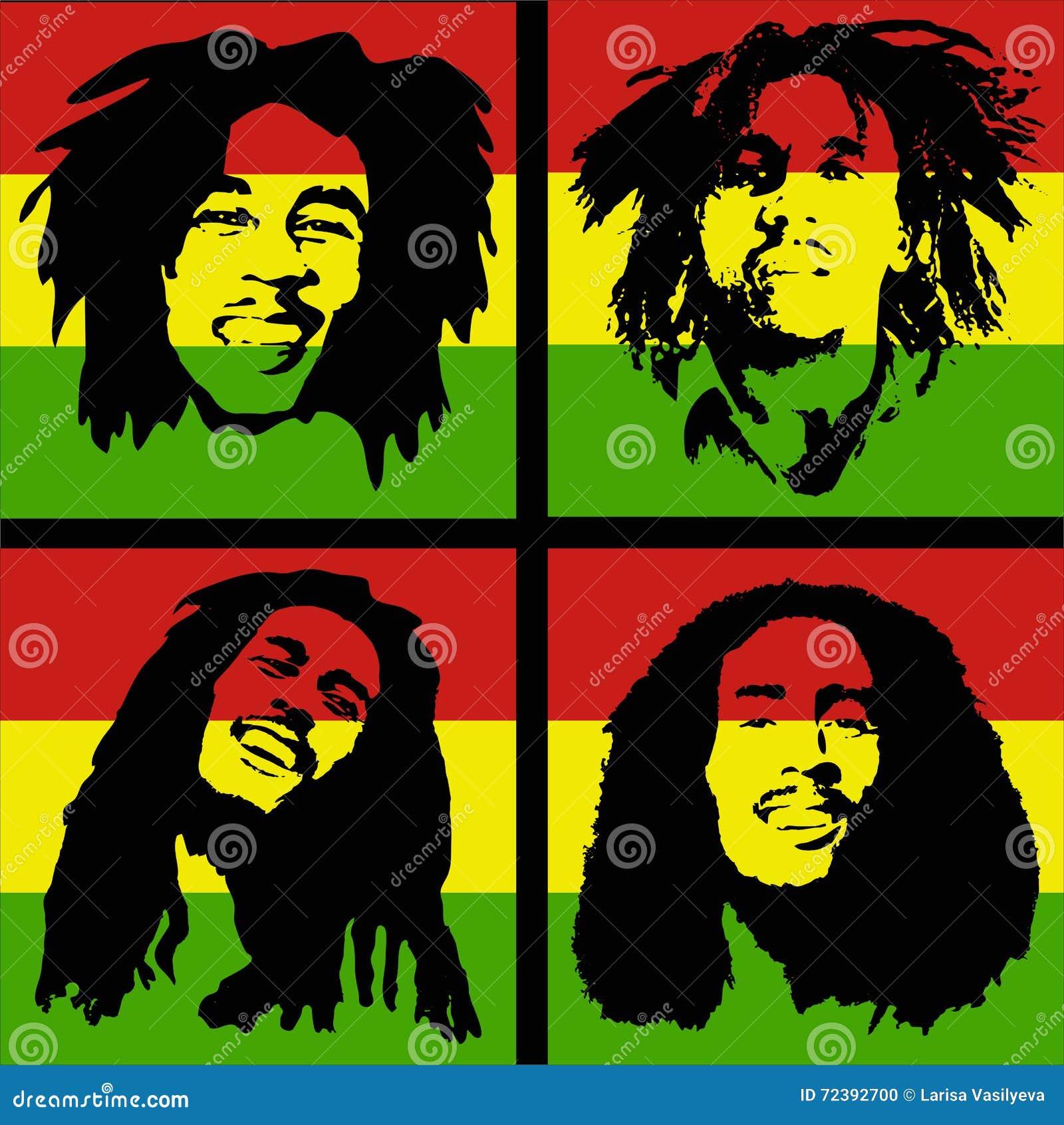 Bob Marley Portrait Editorial Image Illustration Of Happy 72392700