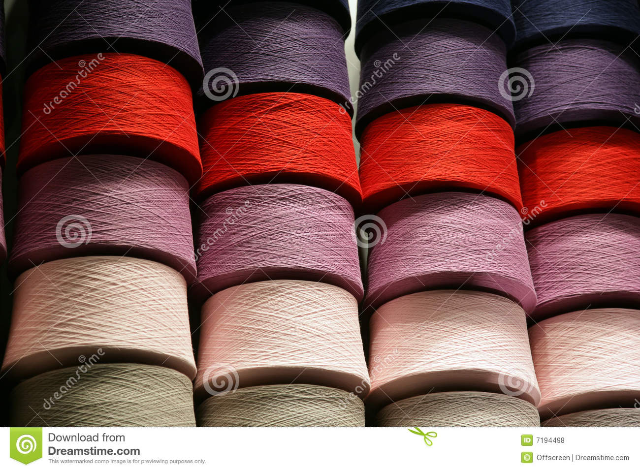 Bobbins with the coloured threads