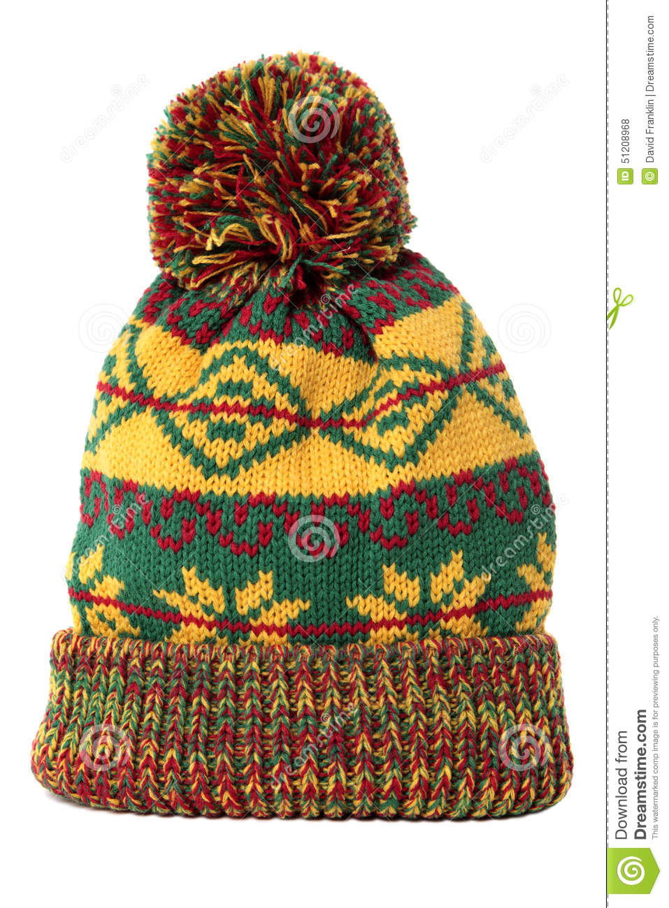 0e5abca01fd Winter Bobble Hat Or Ski Hat Isolated On White Background Stock ...