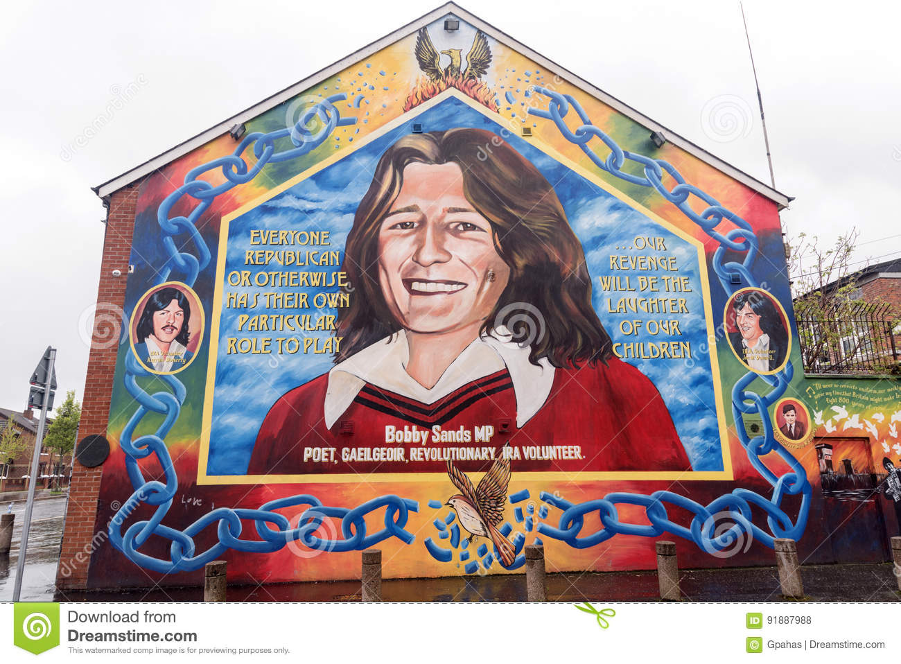 Bobby sands mural in belfast northern ireland editorial for Bobby sands mural