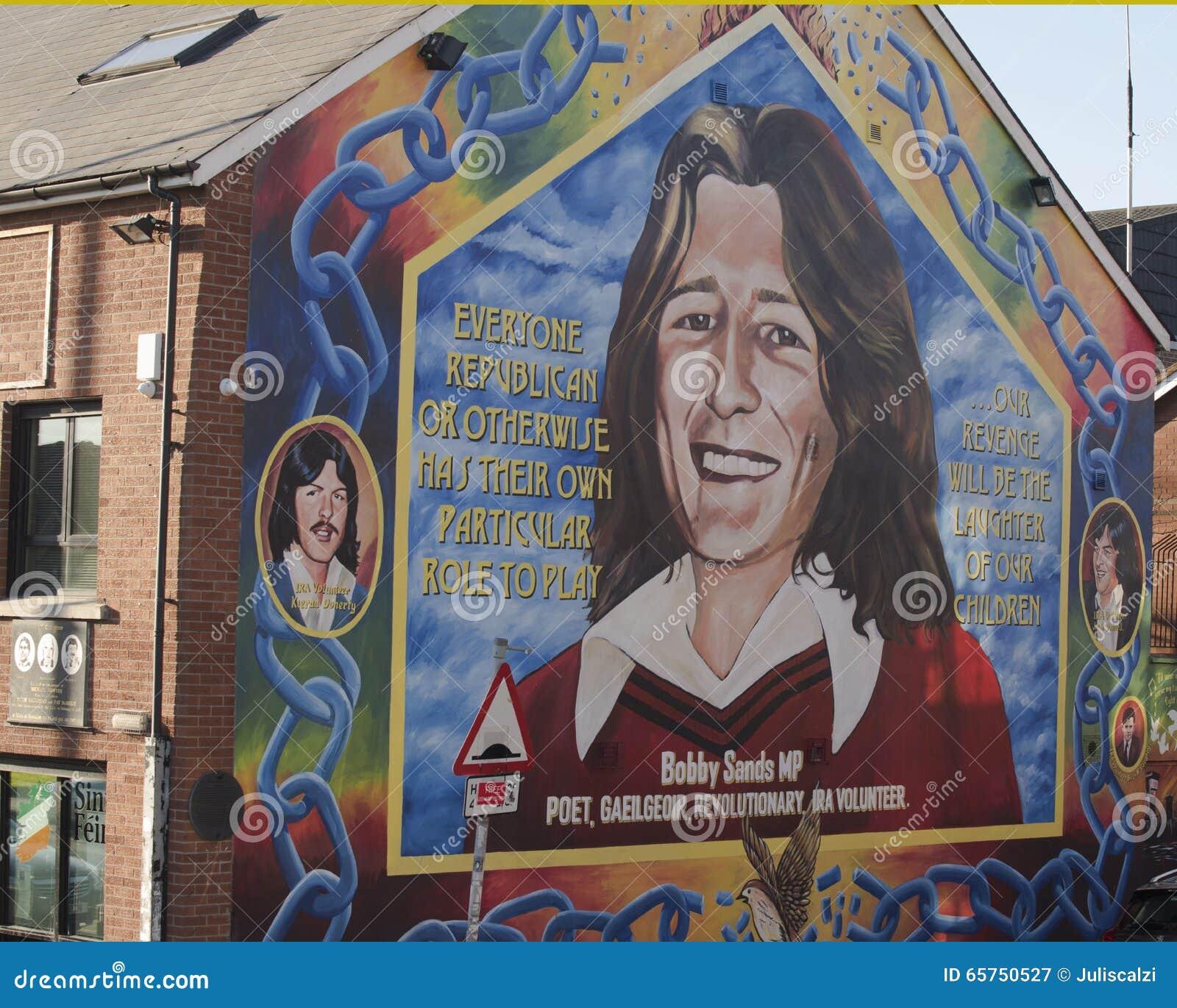 Bobby sands muurschildering op de sinn fein die belfast for Mural irlande