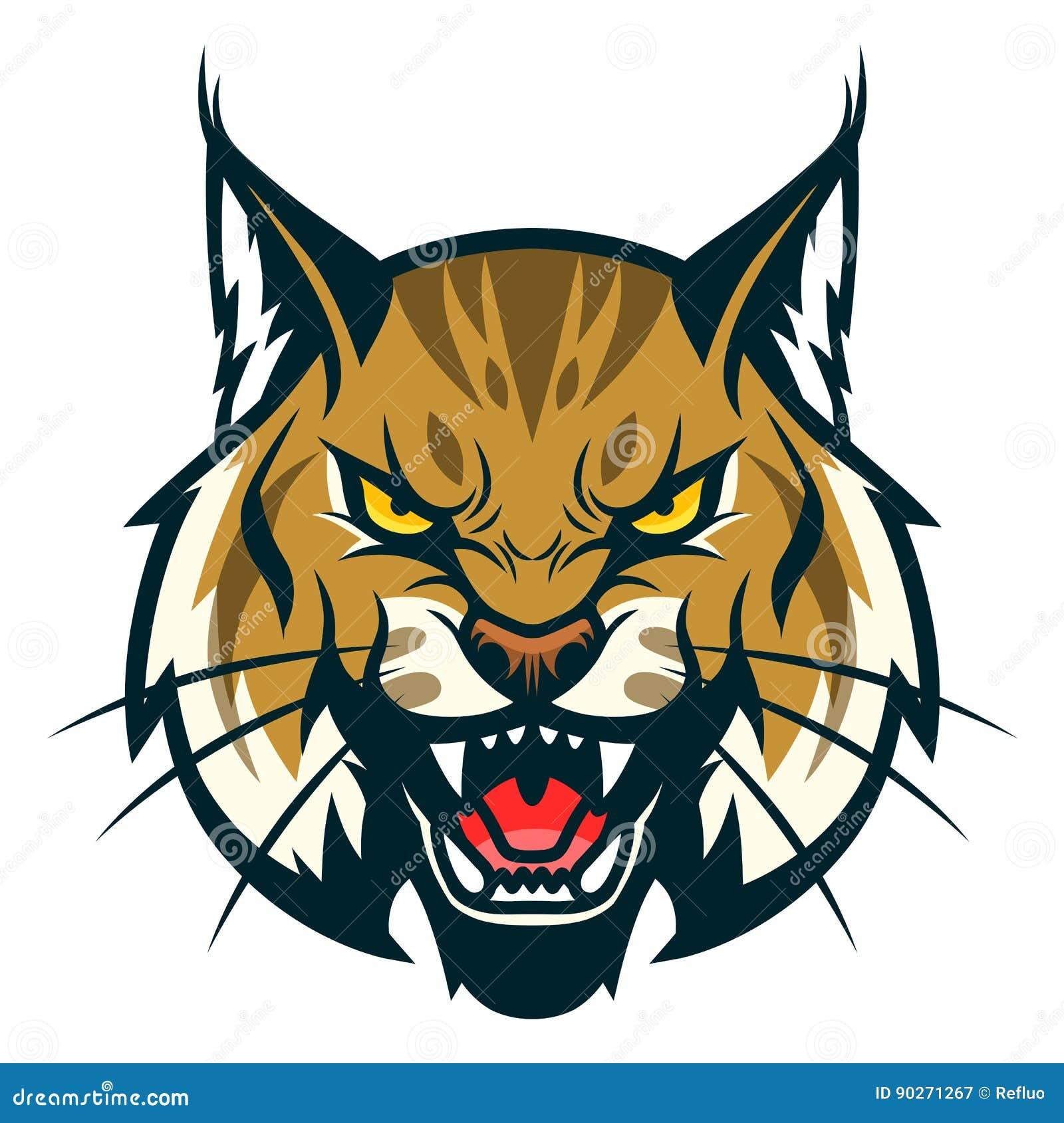 c2d8e2a73 Bobcat head stock vector. Illustration of face, tattoo - 90271267