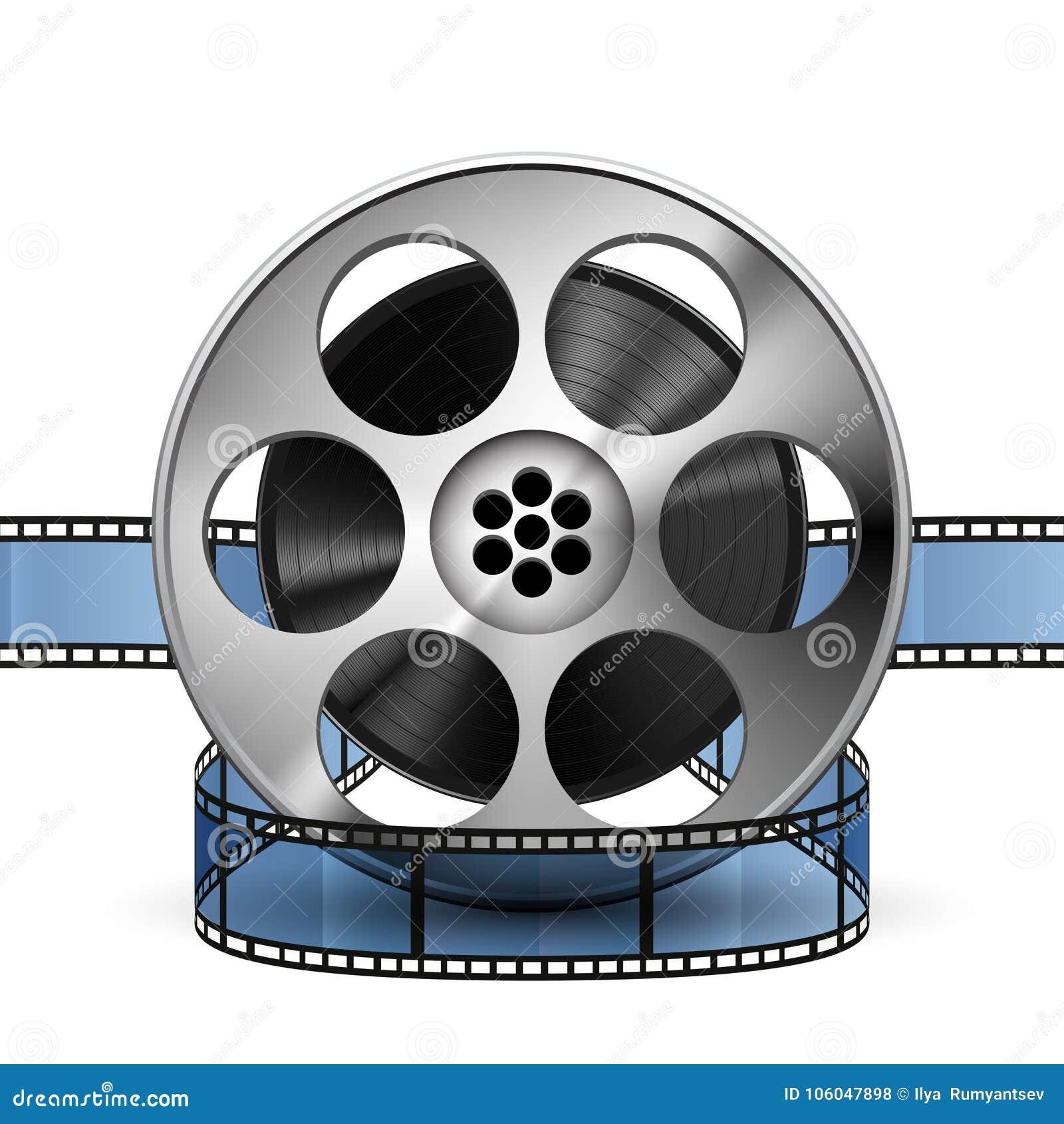 Bobina della striscia di pellicola 3d, vettore realistico