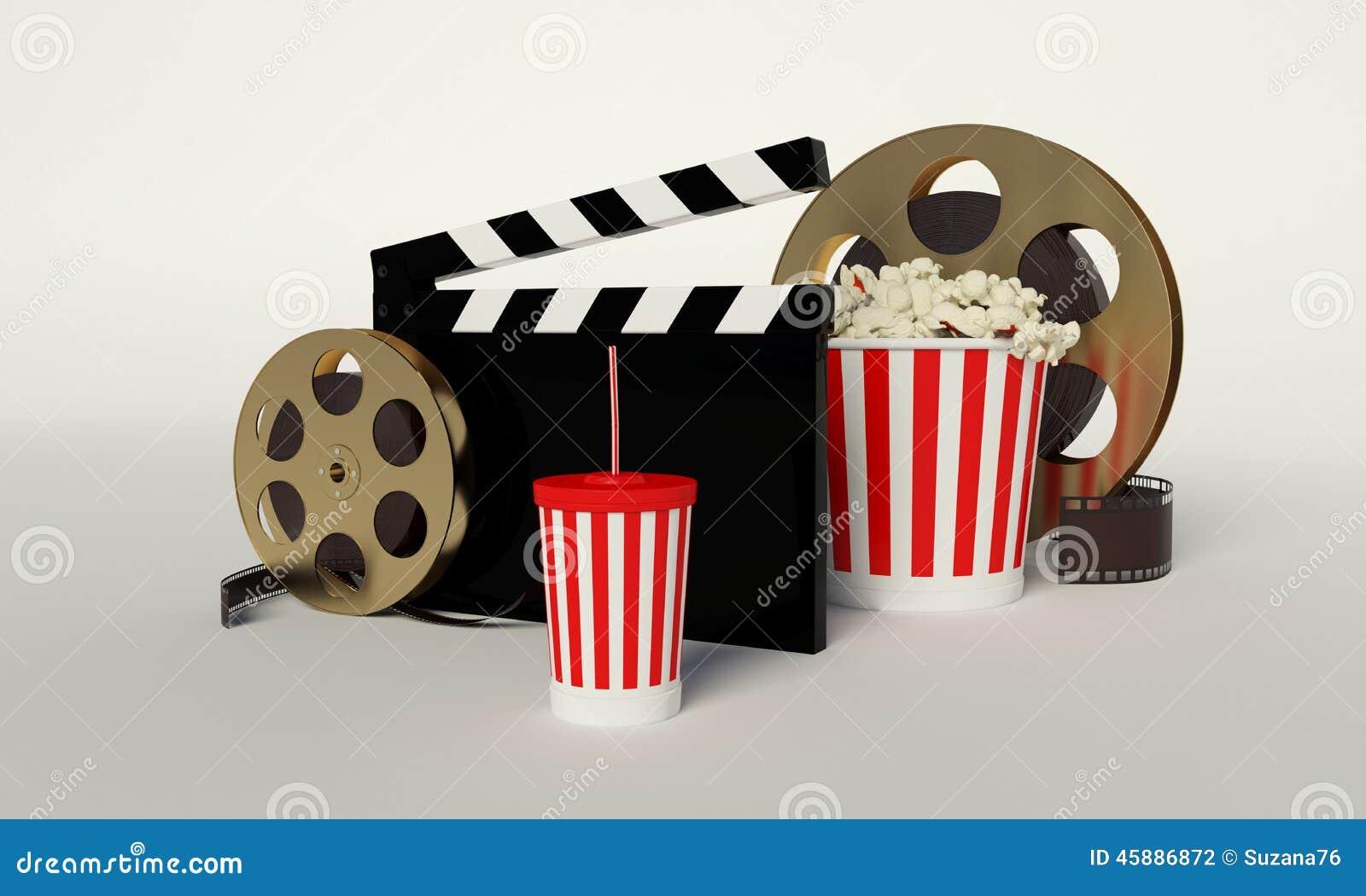 Bobina di film, popcorn, striscia di film, tazza eliminabile per le bevande con