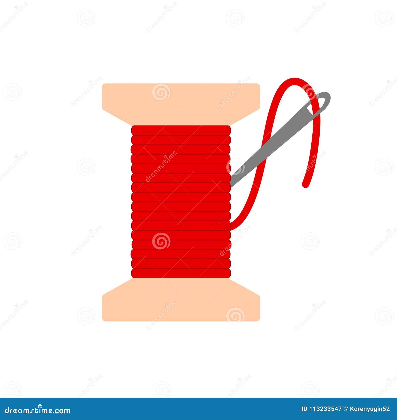 Bobine Avec L Icône Rouge De Fil D Aiguille Plate