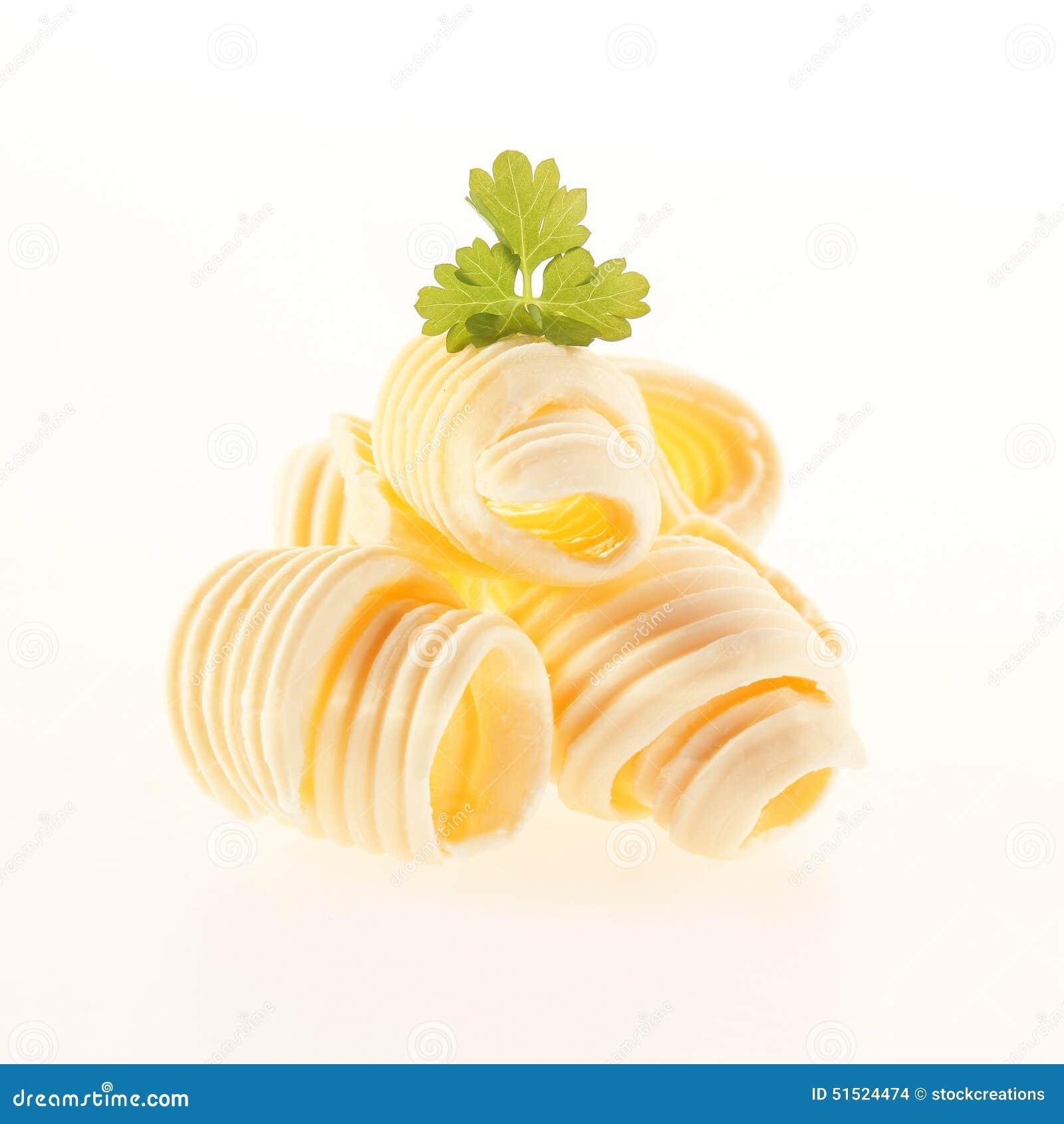 Bobines roulées de beurre crémeux