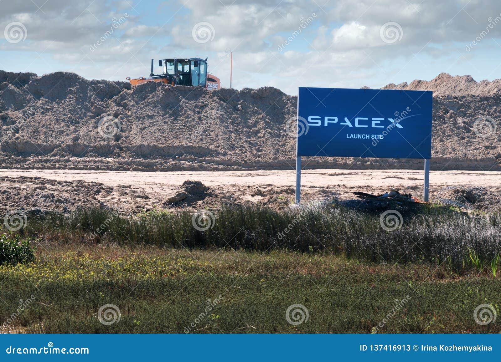 Boca Chica Village, le Texas/Etats-Unis - 20 janvier 2019 : Construction du site de lancement de SpaceX de spaceport