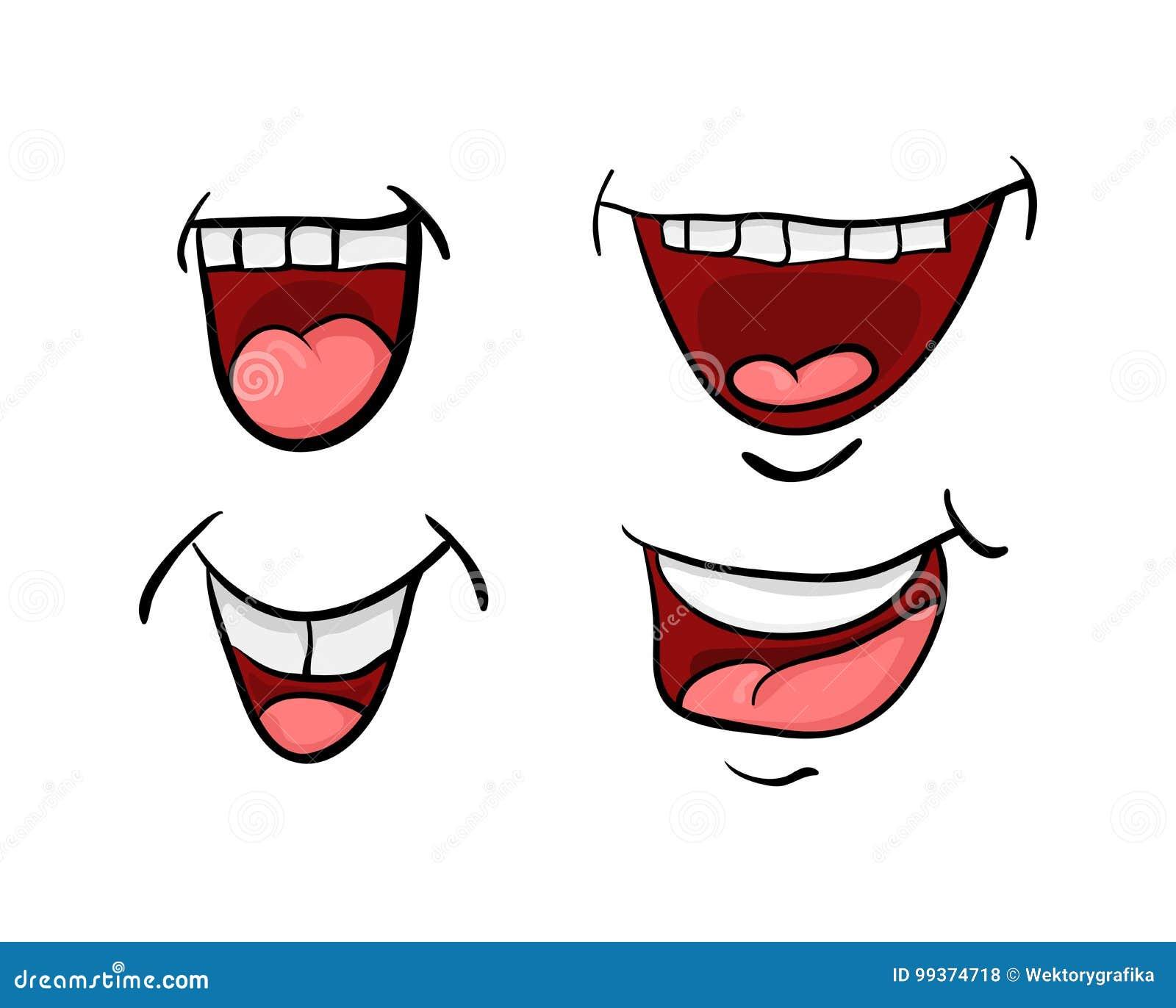 a boca dos desenhos animados com língua e dentes ajustou o desig do