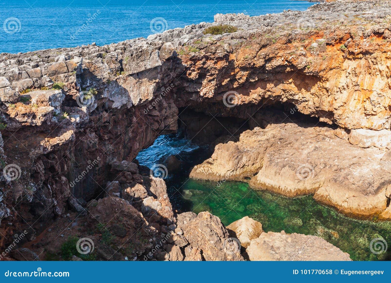 Boca hace el infierno - Cais Cais - Portugal Abismo de la boca del ` s del infierno, Portugal