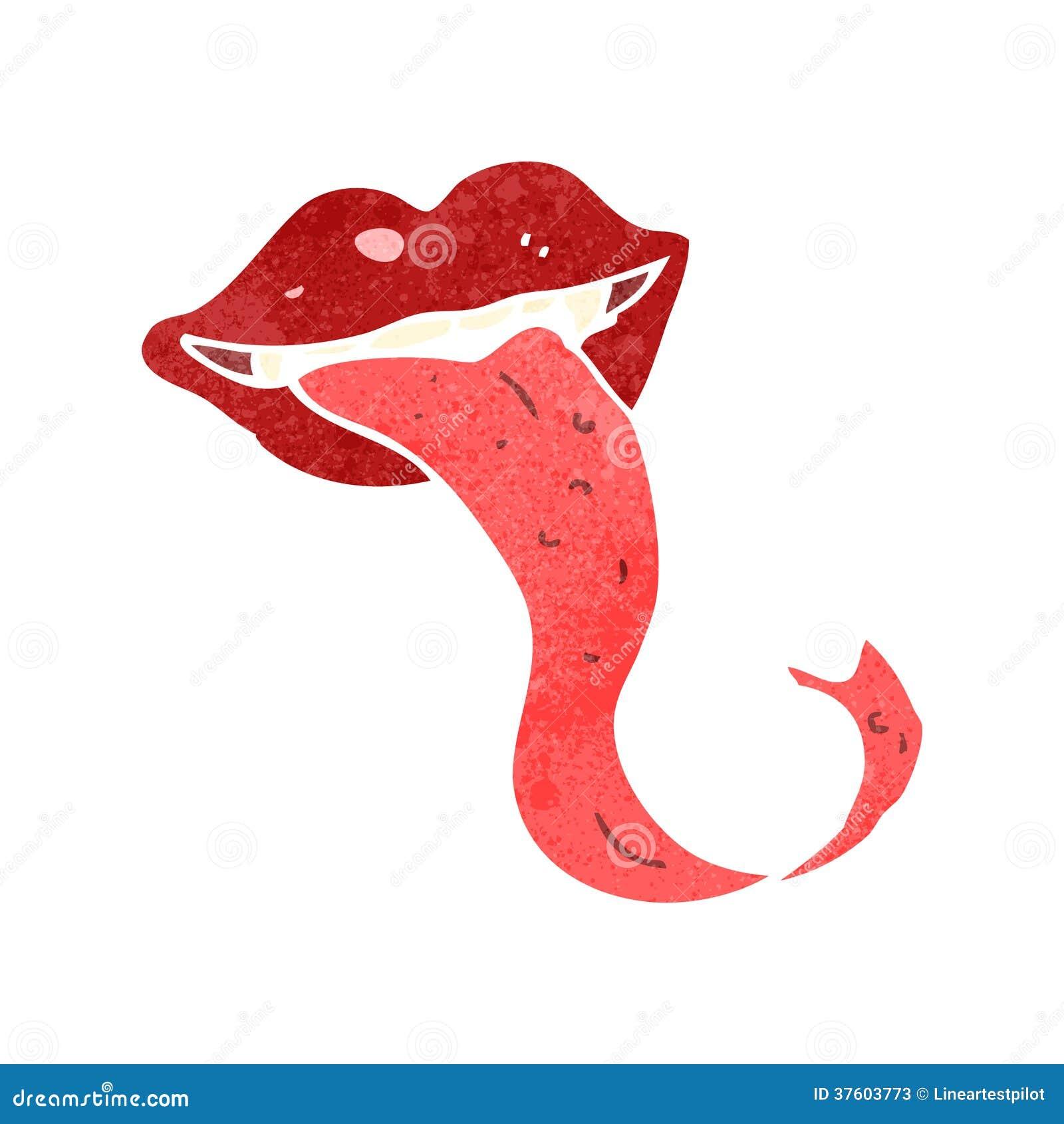 boca retro dos desenhos animados com colagem para fora da língua