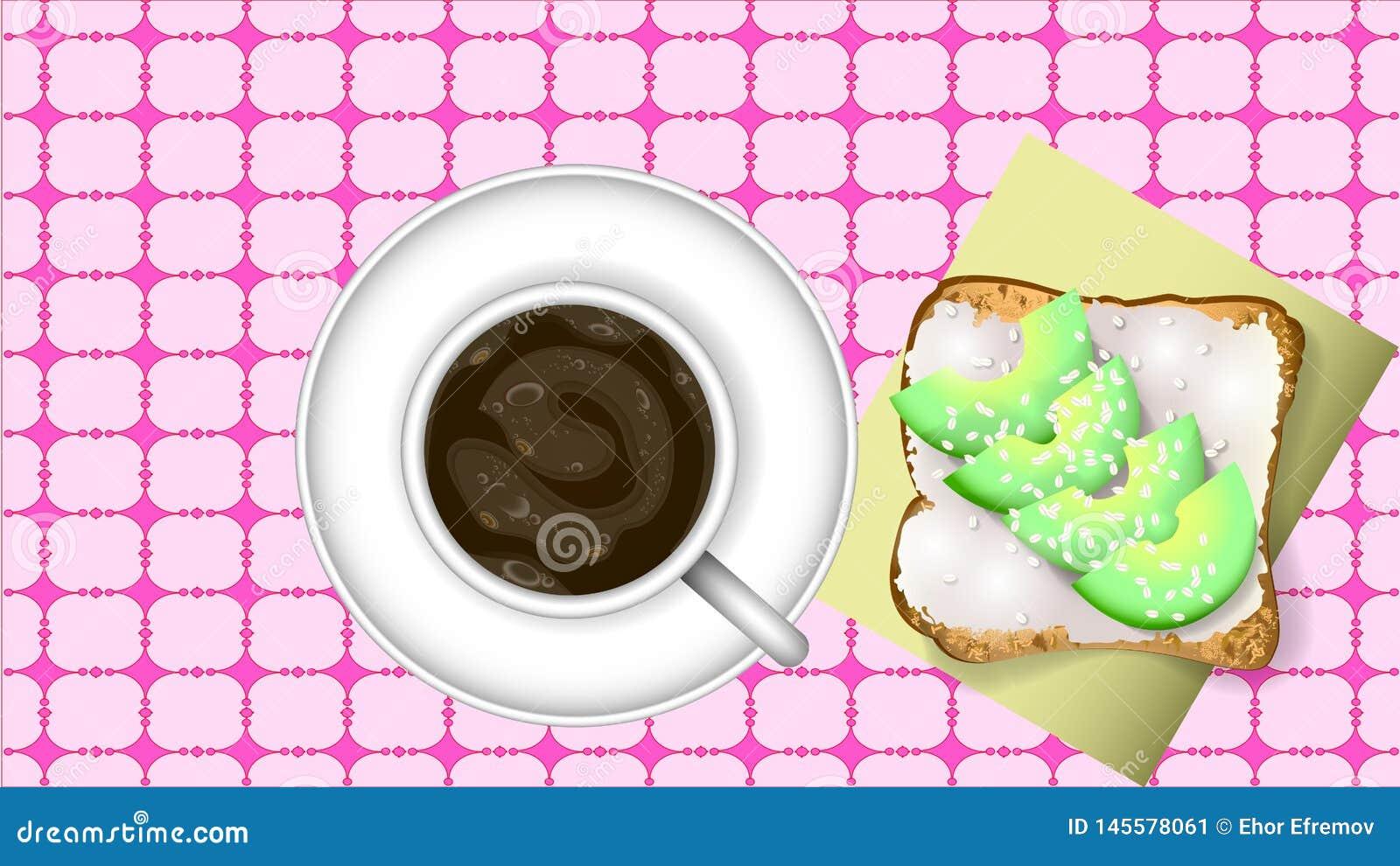 Bocadillo del café sólo y del aguacate