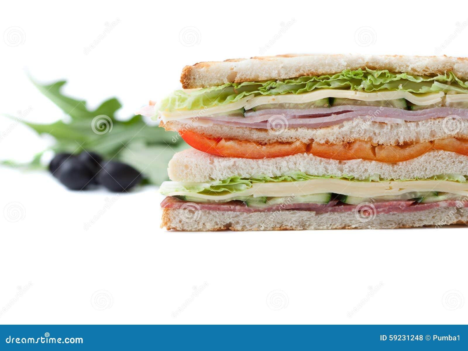 Download Bocadillo Grande En Un Fondo Blanco Foto de archivo - Imagen de carne, almuerzo: 59231248