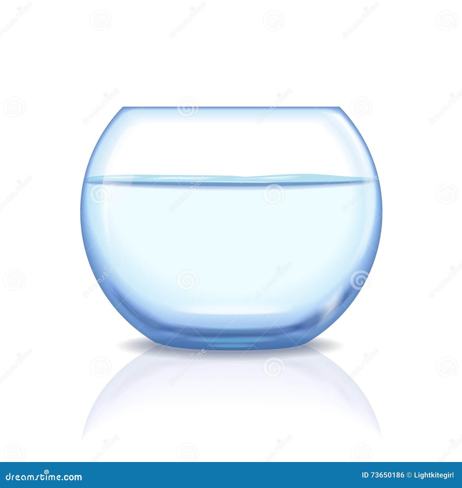 Bocal poissons en verre r aliste aquarium avec de l 39 eau for Bocal rond poisson